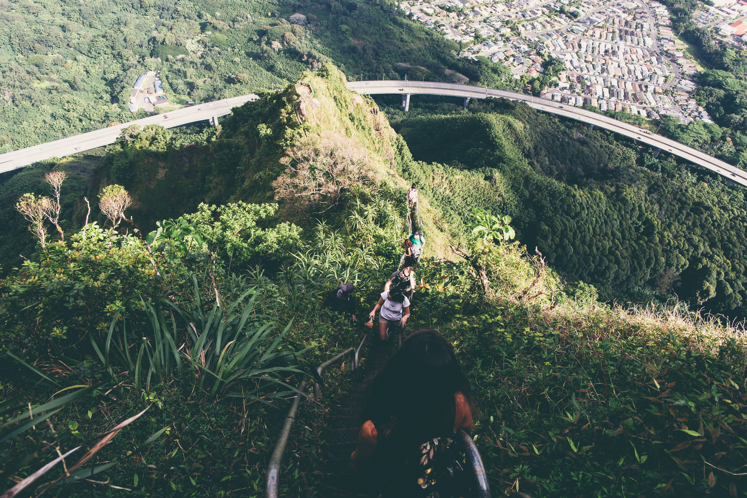 Haiku Stairs traffic jam. Four hikers doing a mid-day hike. HOT! (as in temperature, not as in an attractive way)