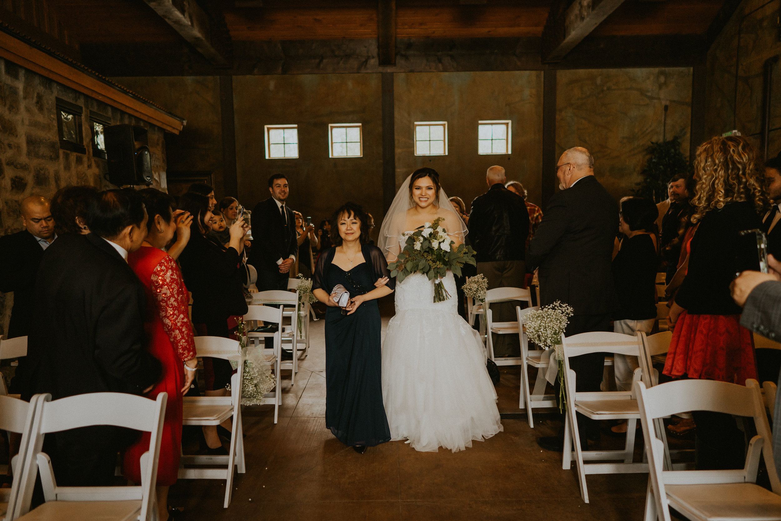 Bride mother walk aisle ceremony Seattle Wedding Photographer