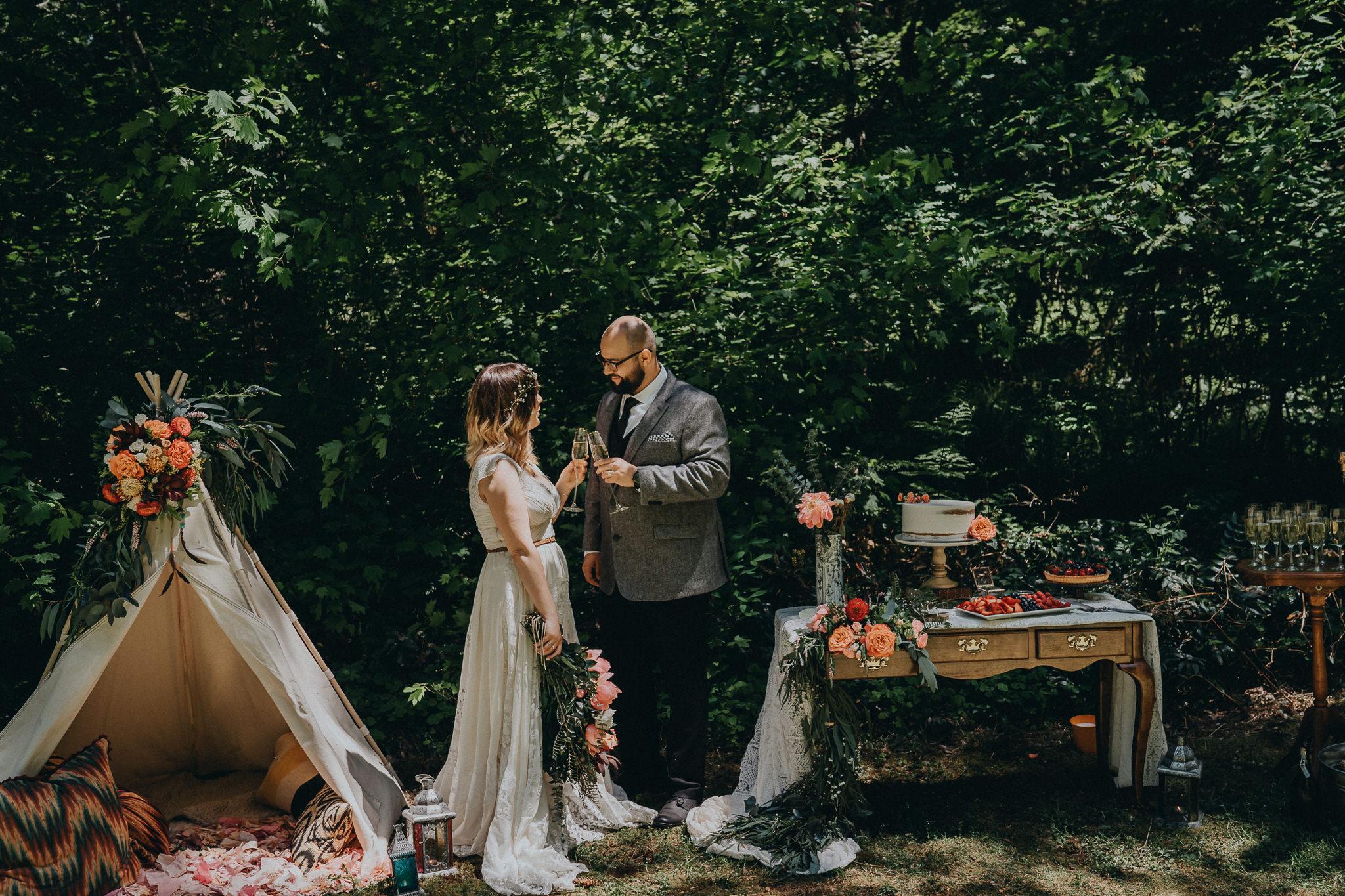 Bride-Groom-Cheer-Champagne-Stylized-Wedding