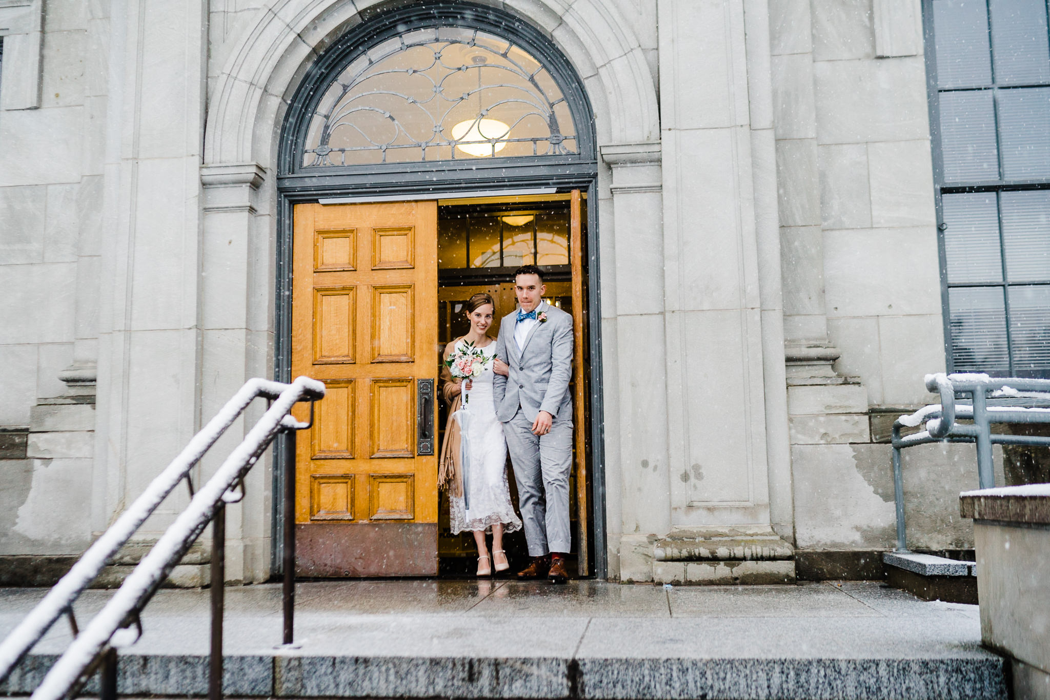 Mason Superior Courthouse wedding Winter