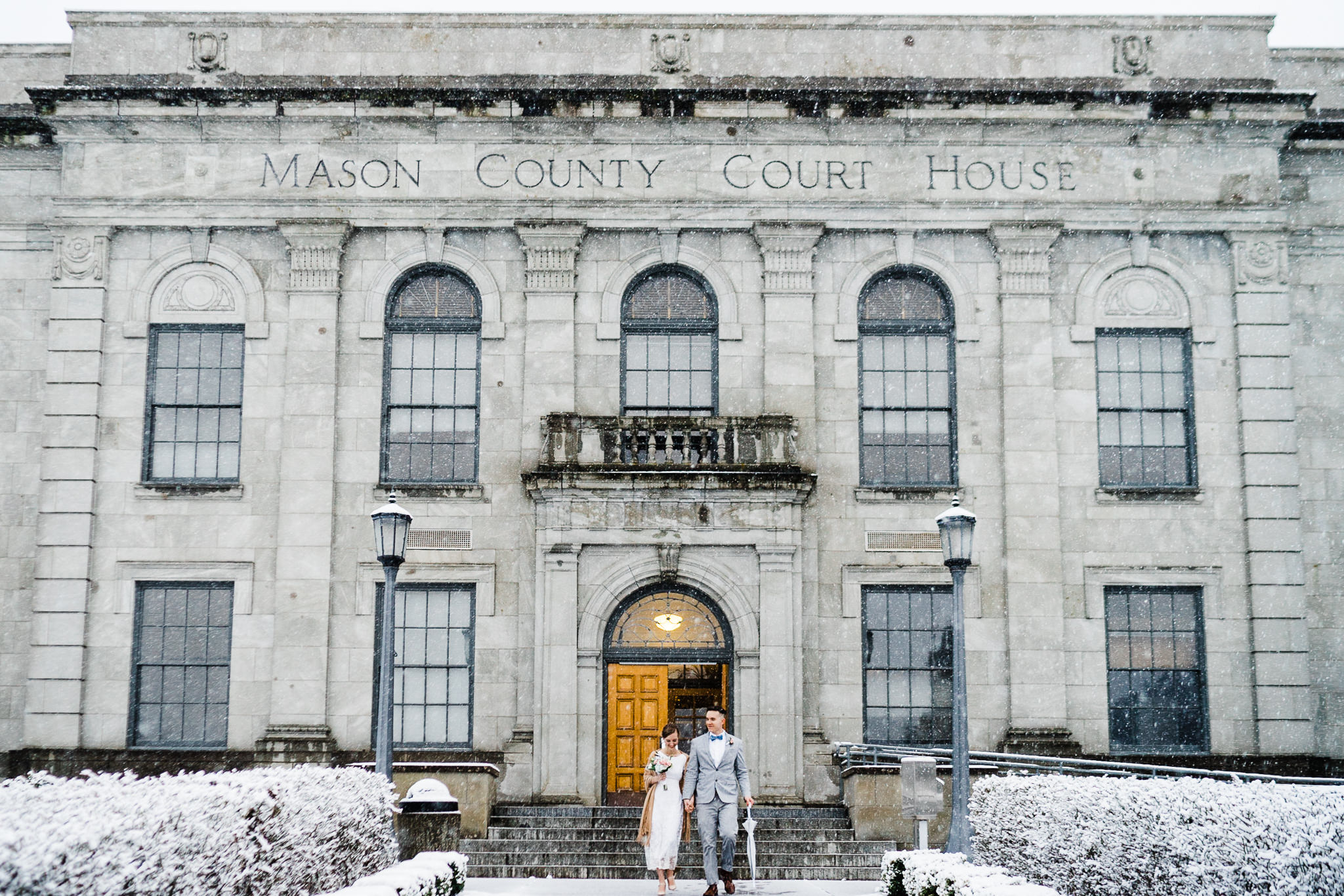 Winter Snow courthouse wedding