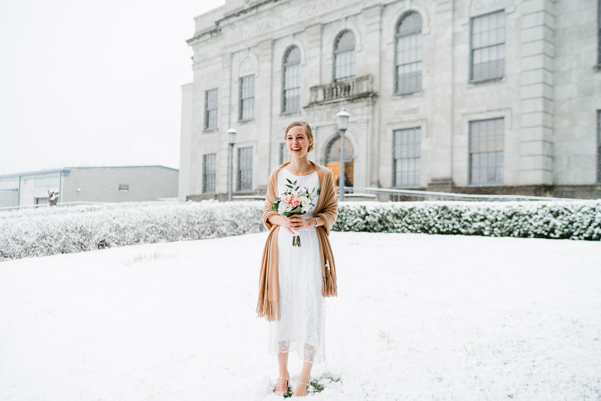 Bride Snow Courthouse Portrait Washington State