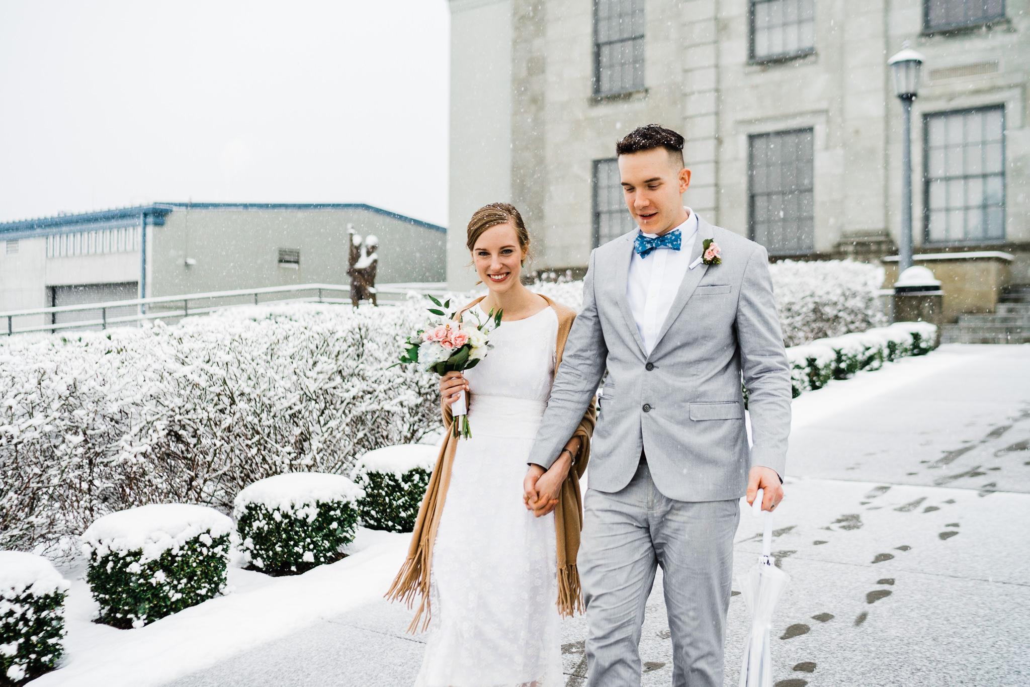 Winter Snow Wedding Portrait