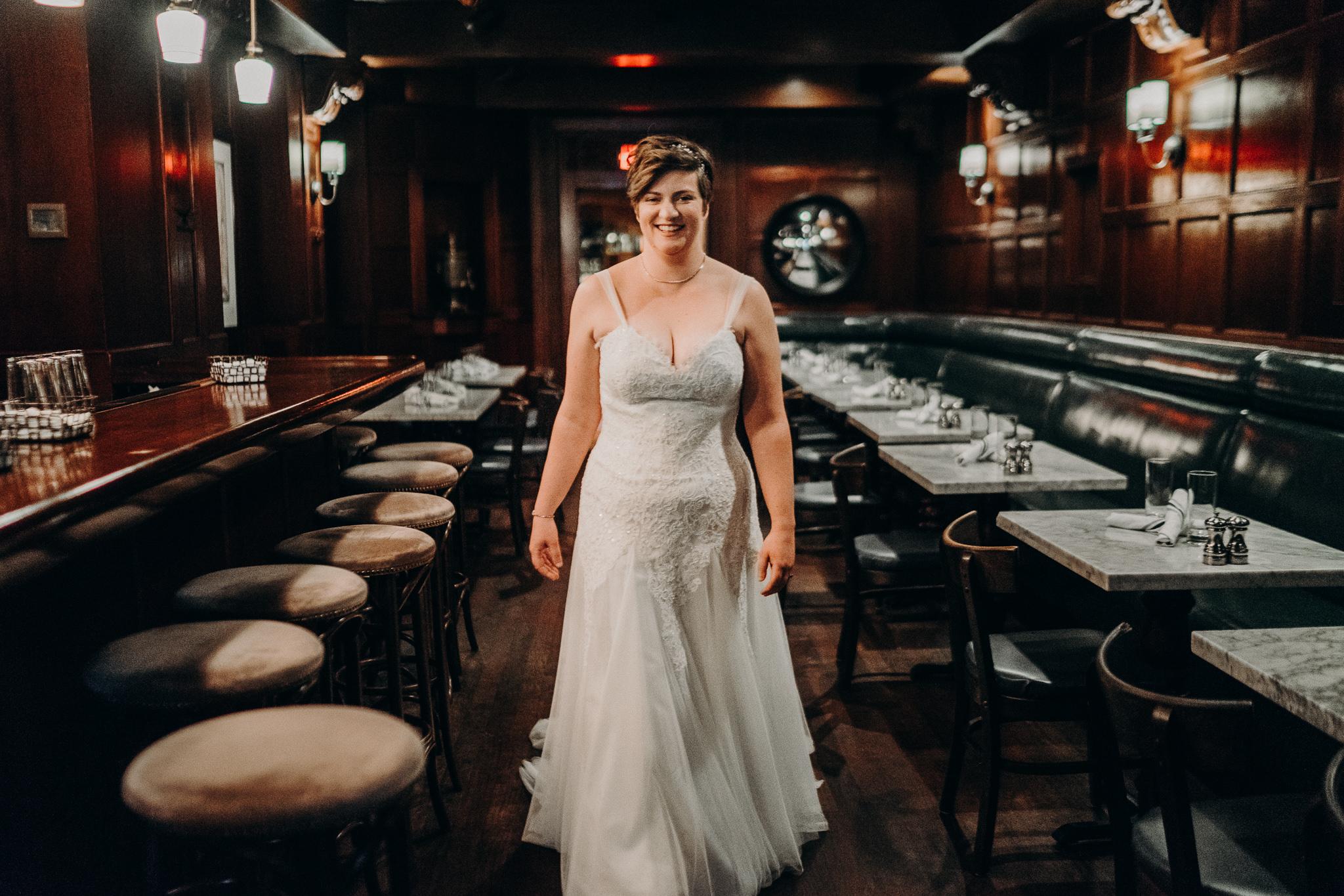 Sorrento Seattle dark bar bride dress alfred tang