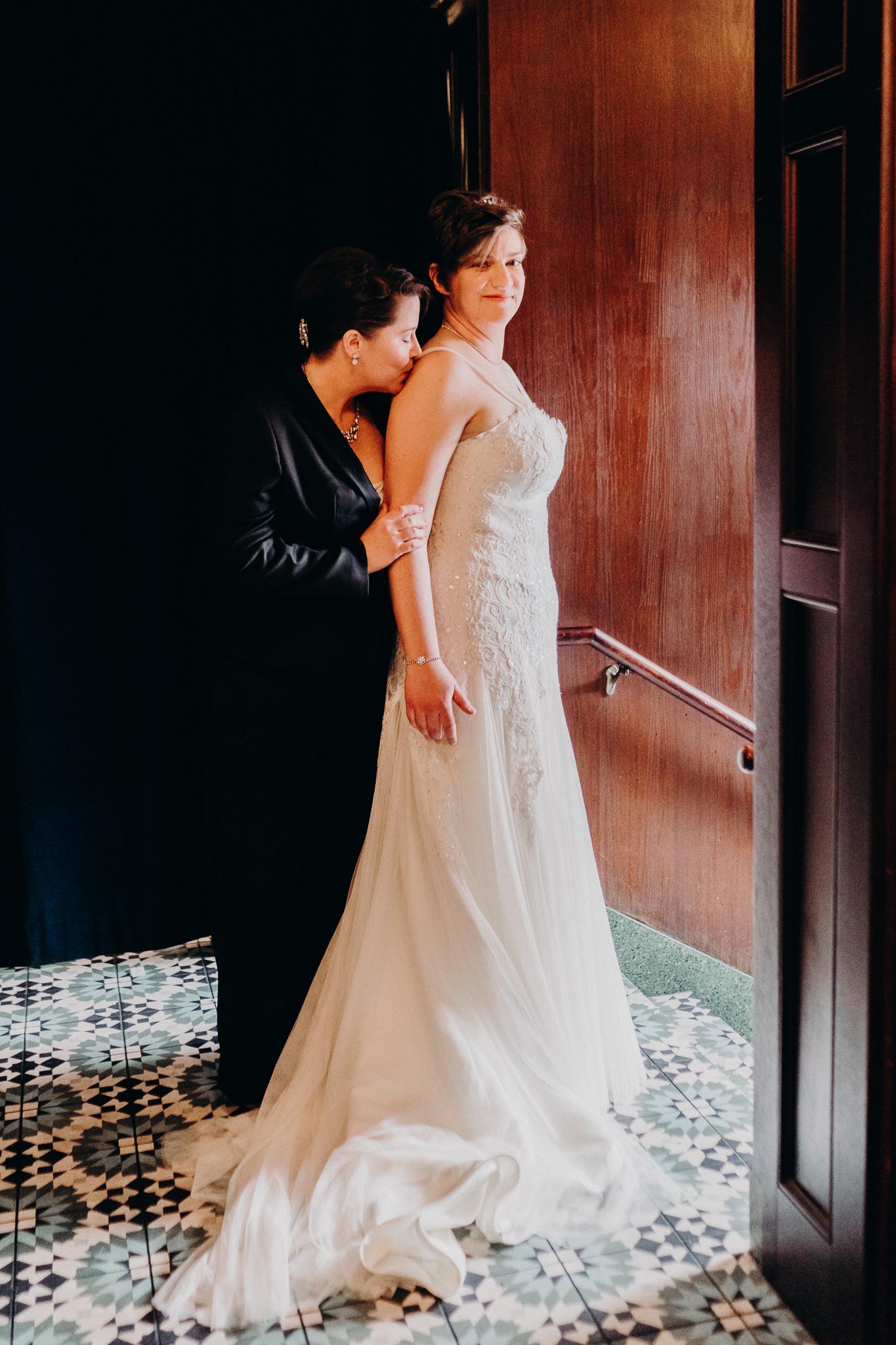 Moody Bride Portrait LGBQT Wedding