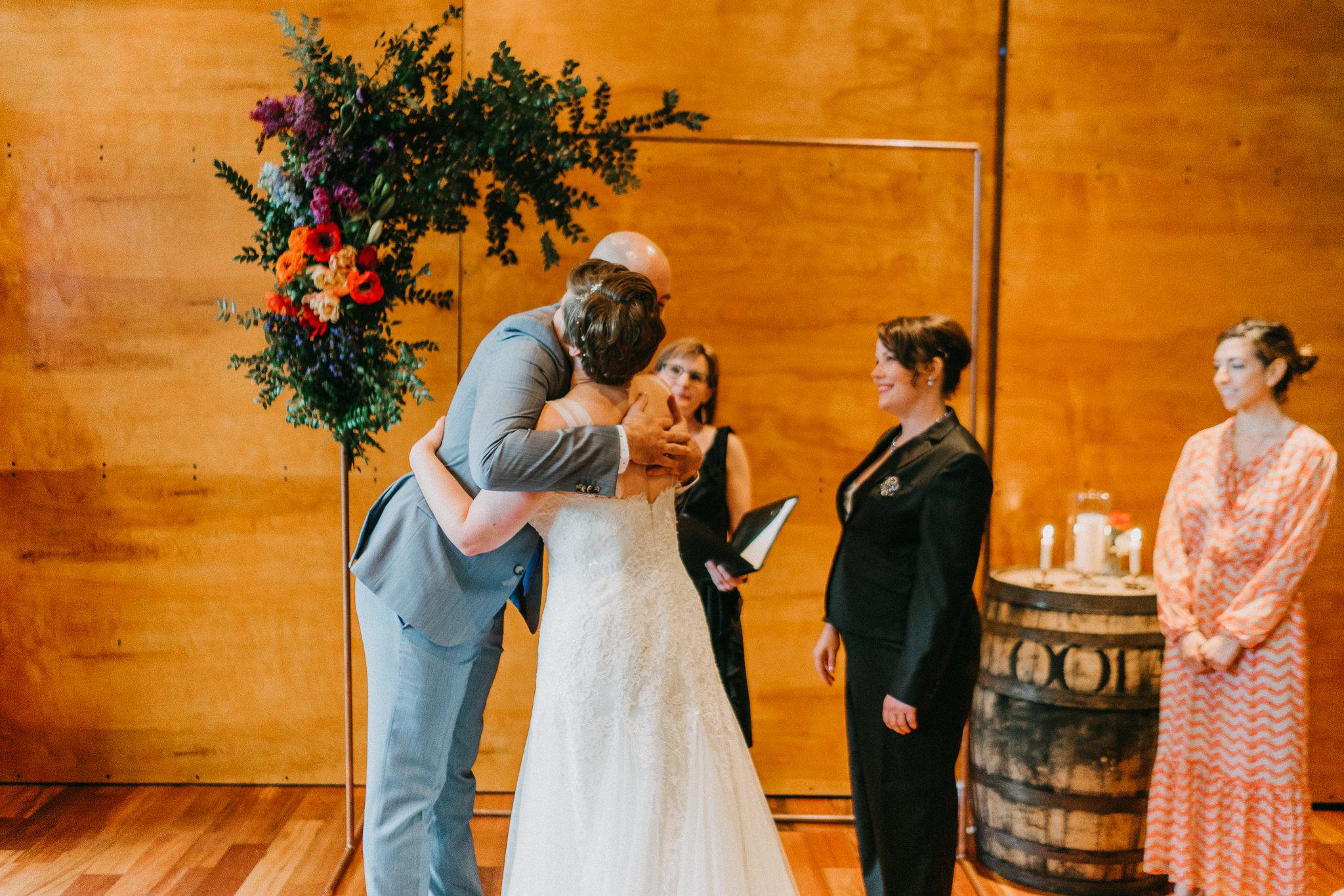 Bride hug best man Washington State Wedding