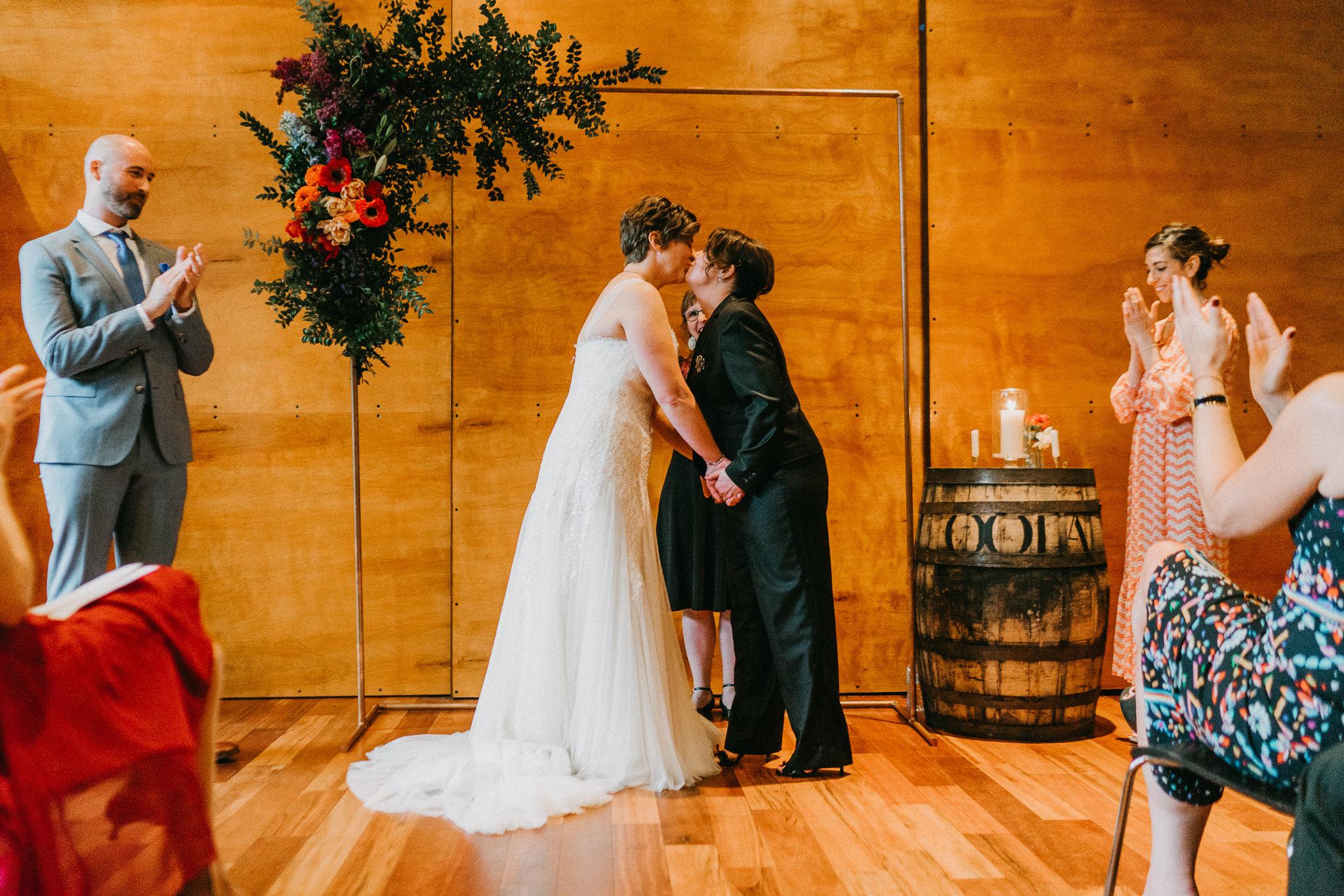 First Kiss Lesbian Sam Sex Wedding photography