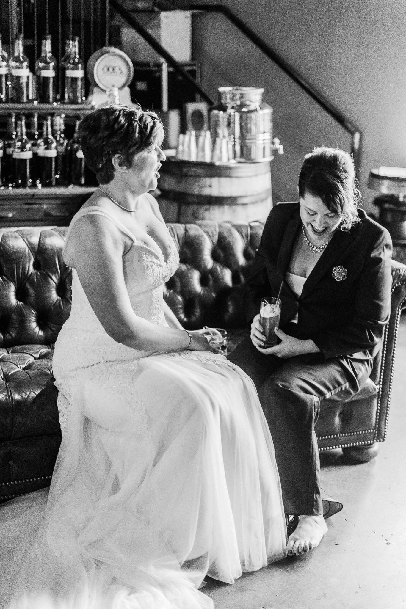 moment in time black white distillery bride portraits