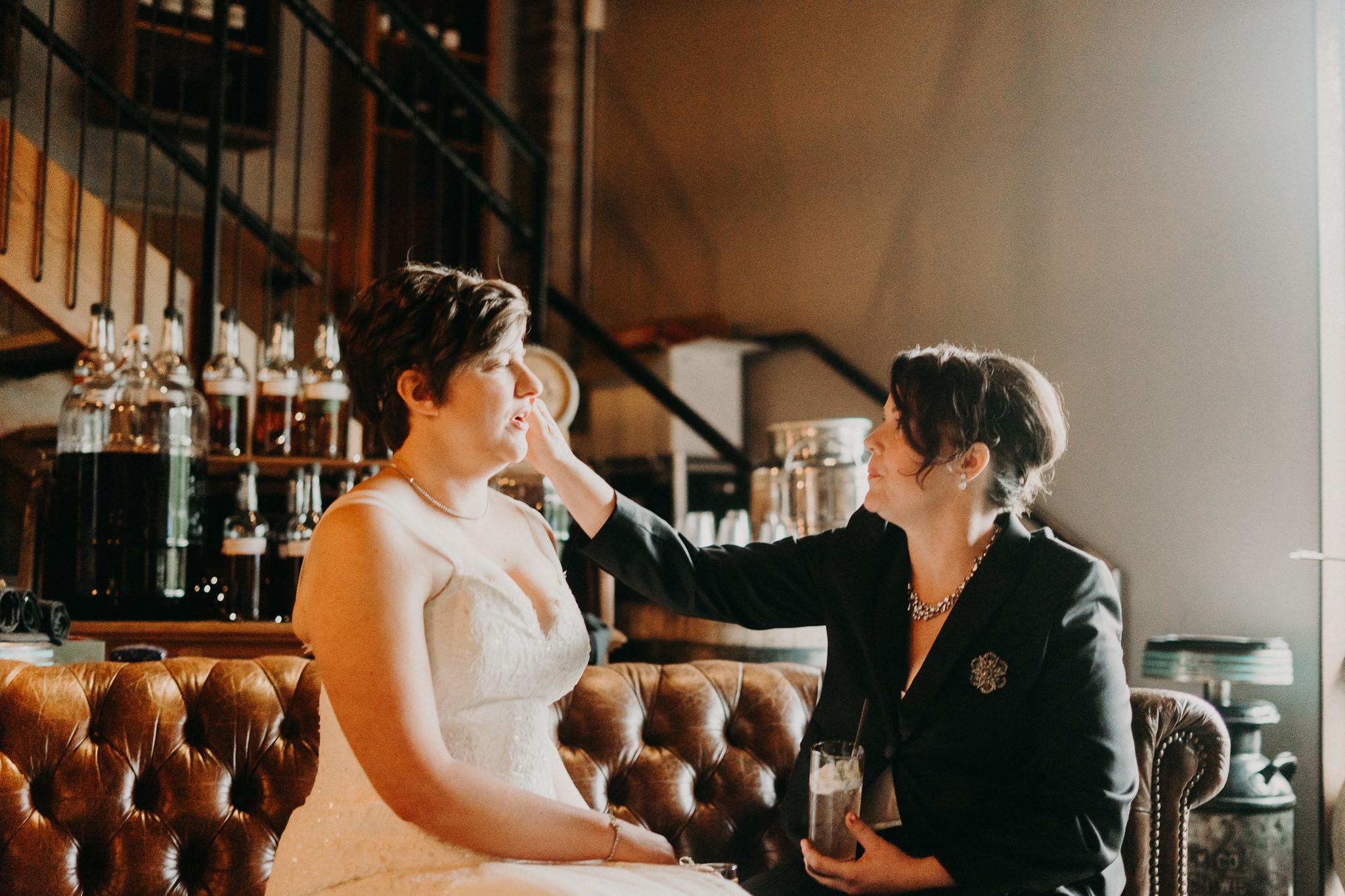 OOLA Distillery tasting room bridal portraits
