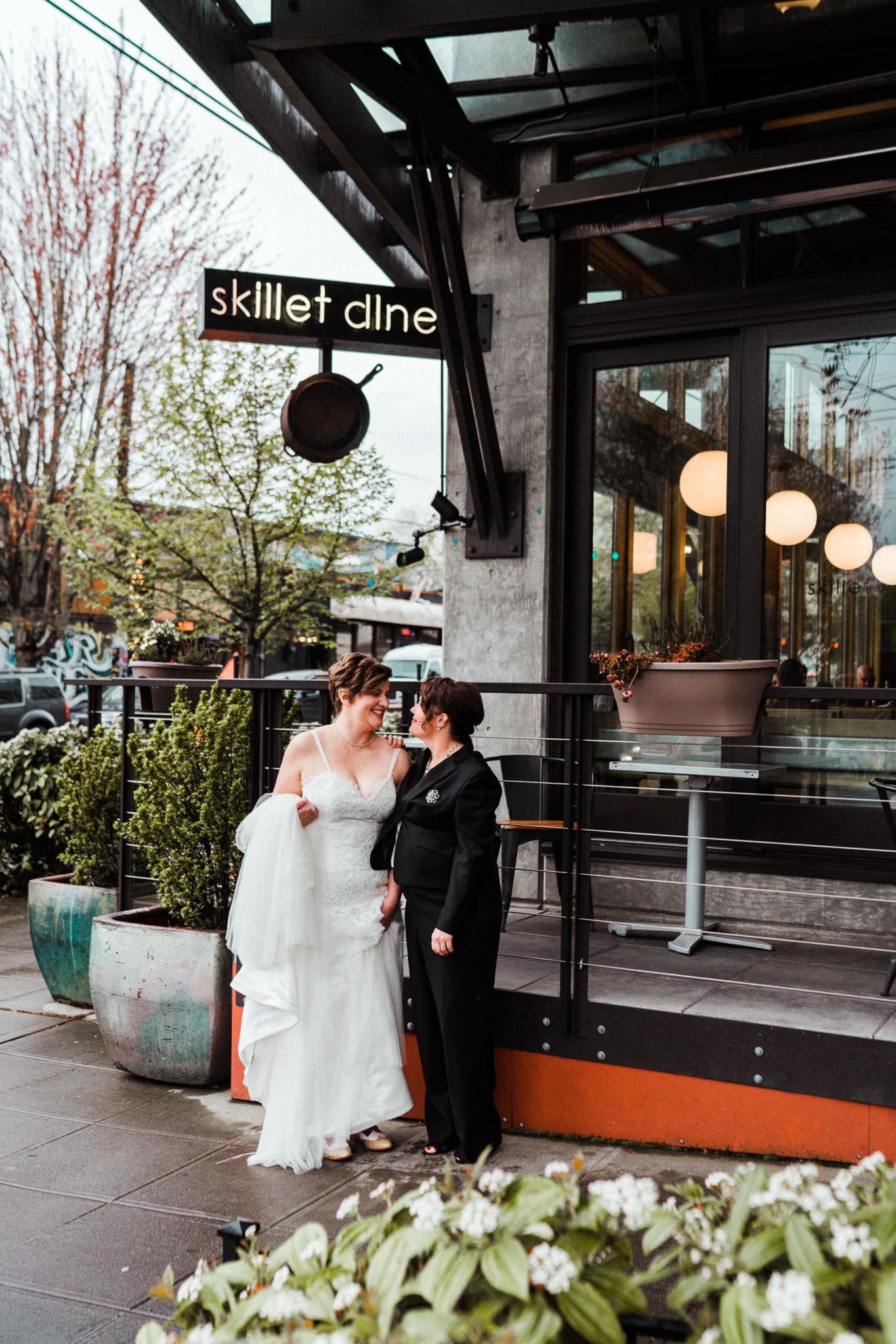 Seattle Bridal Portraits Skillet Diner