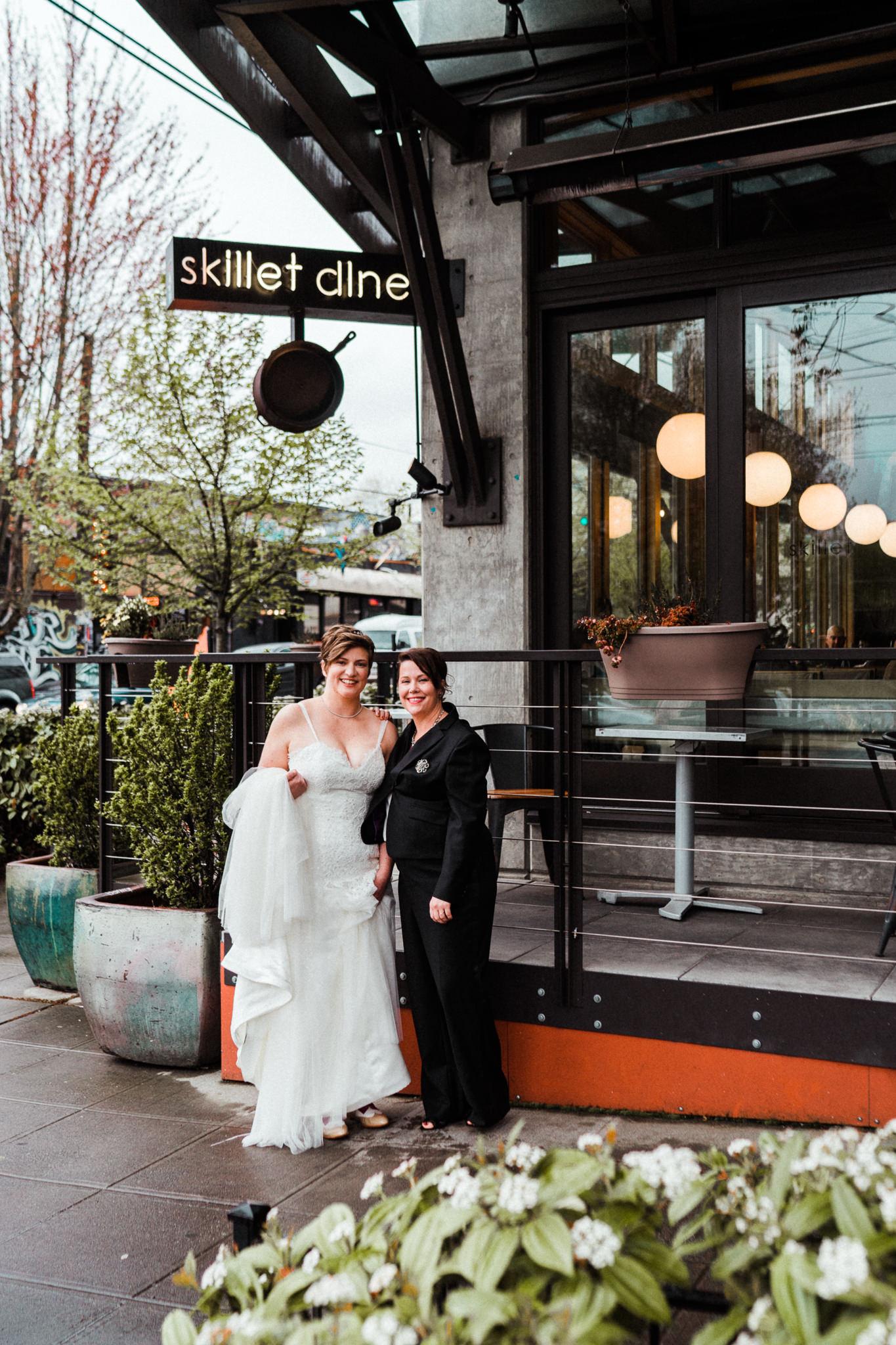 Lesbian Bridal Portrait Skillet Diner