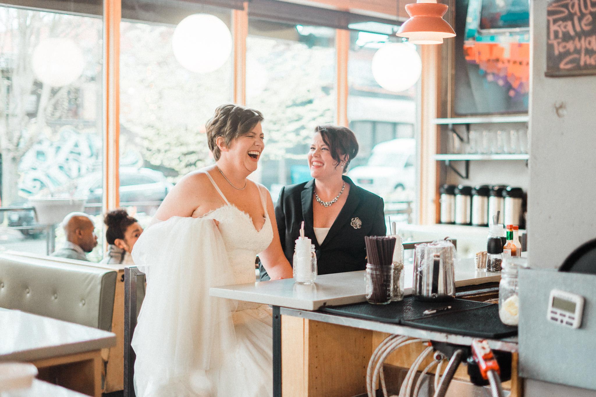 Skillet Diner Counter Wedding Portrait