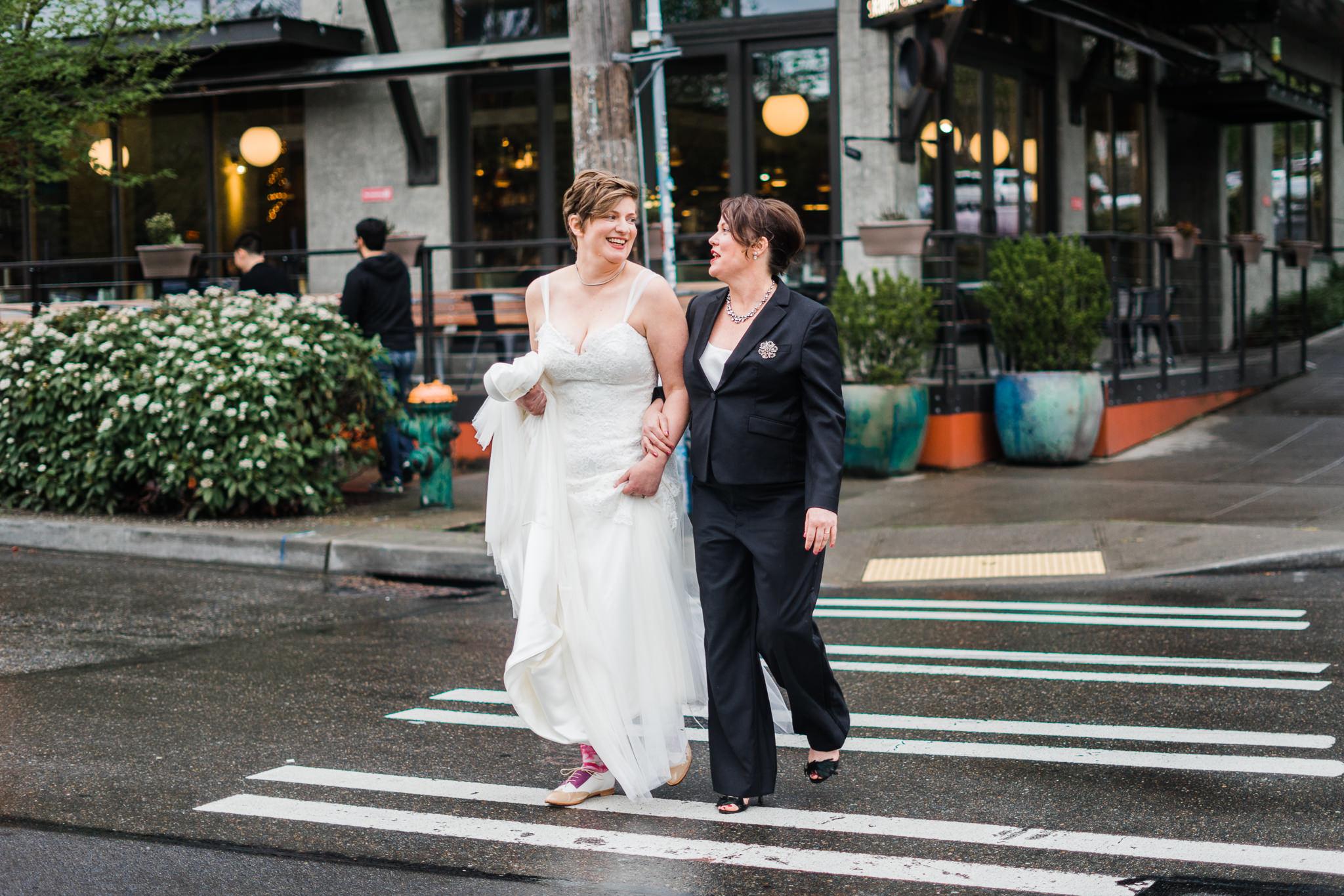 Walking Brides Seattle Streets