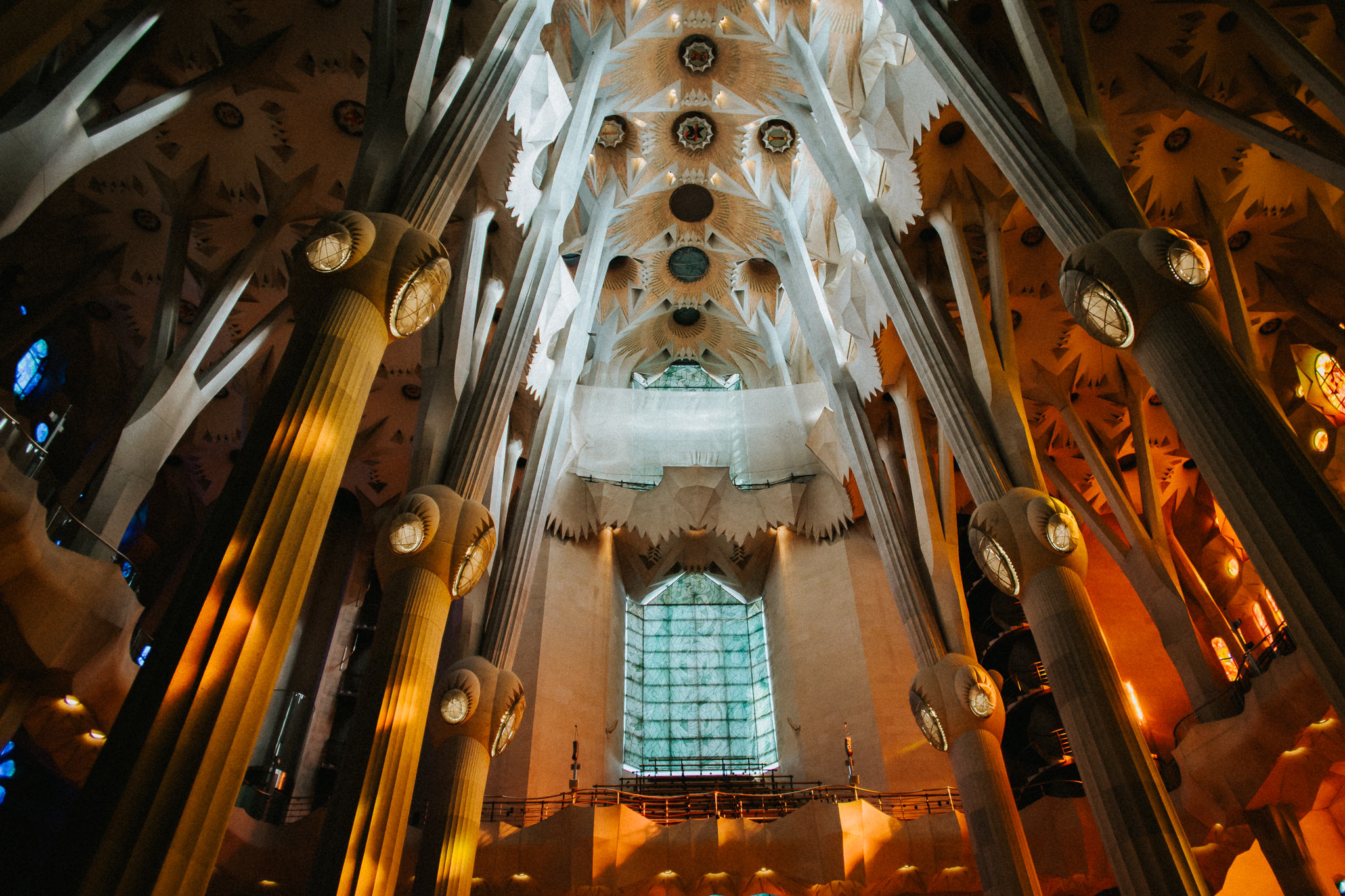 Sagrada Familia ceiling stained glass light back columns pillar