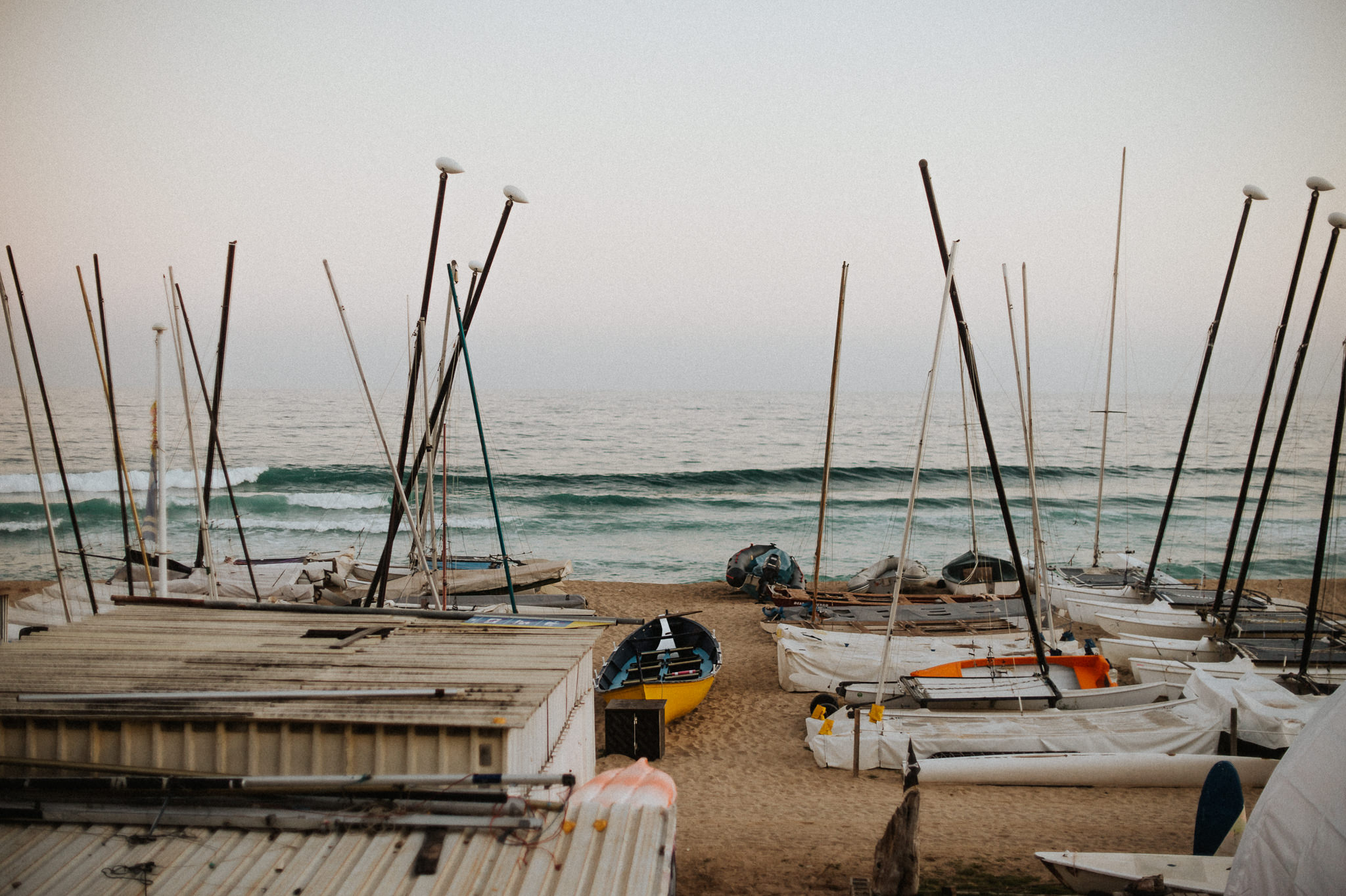 Sailboats mediterranean sea beach canoe