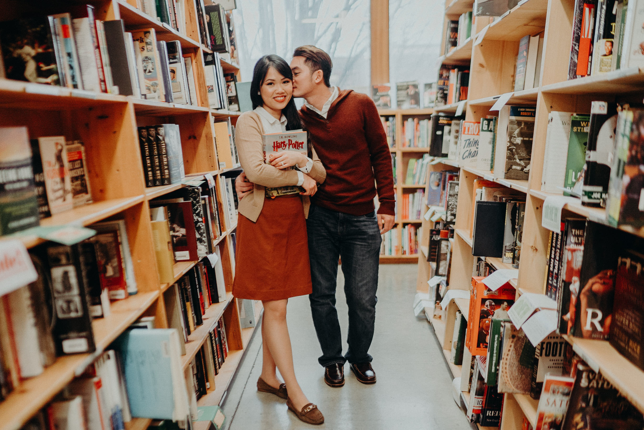 Portland Powells Book Store Engagement Idea