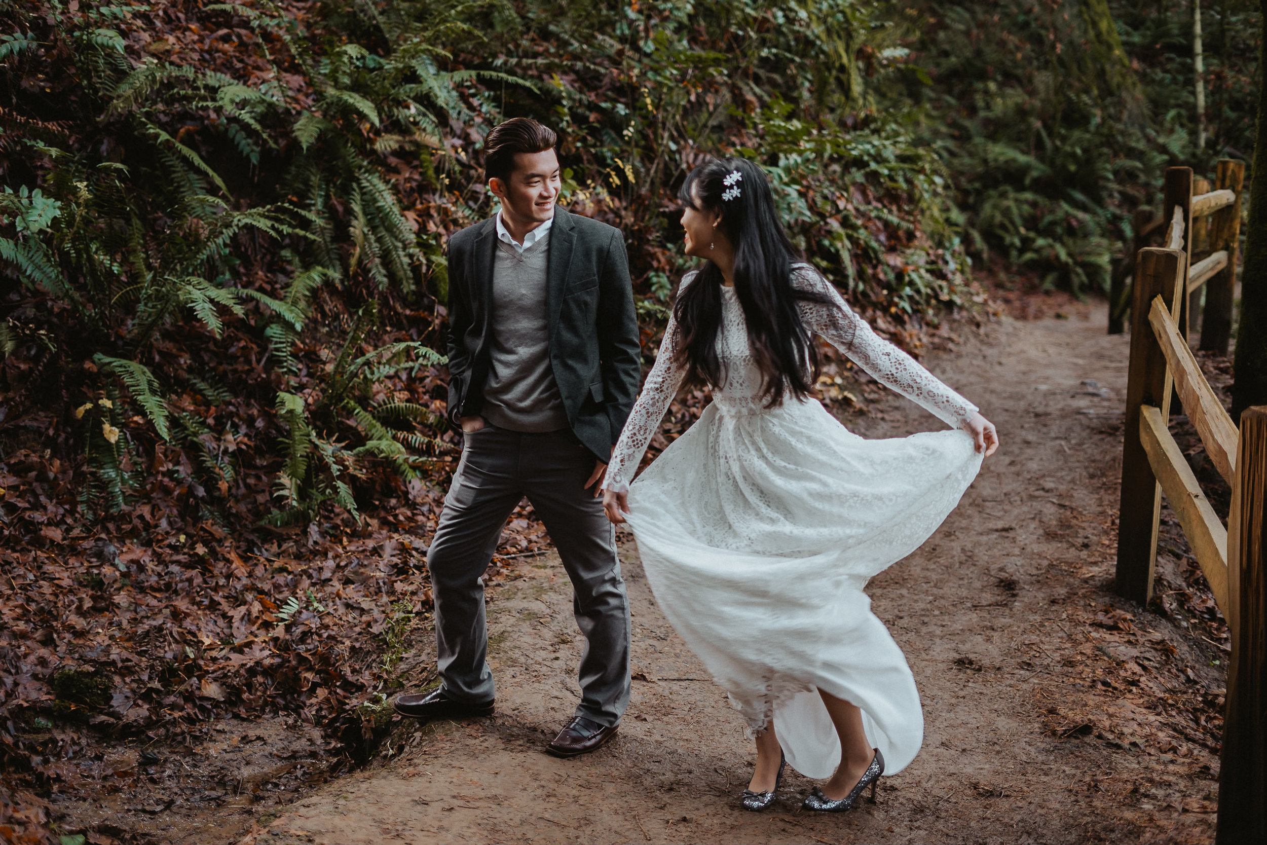 white dress twirl Portland engagement photographer