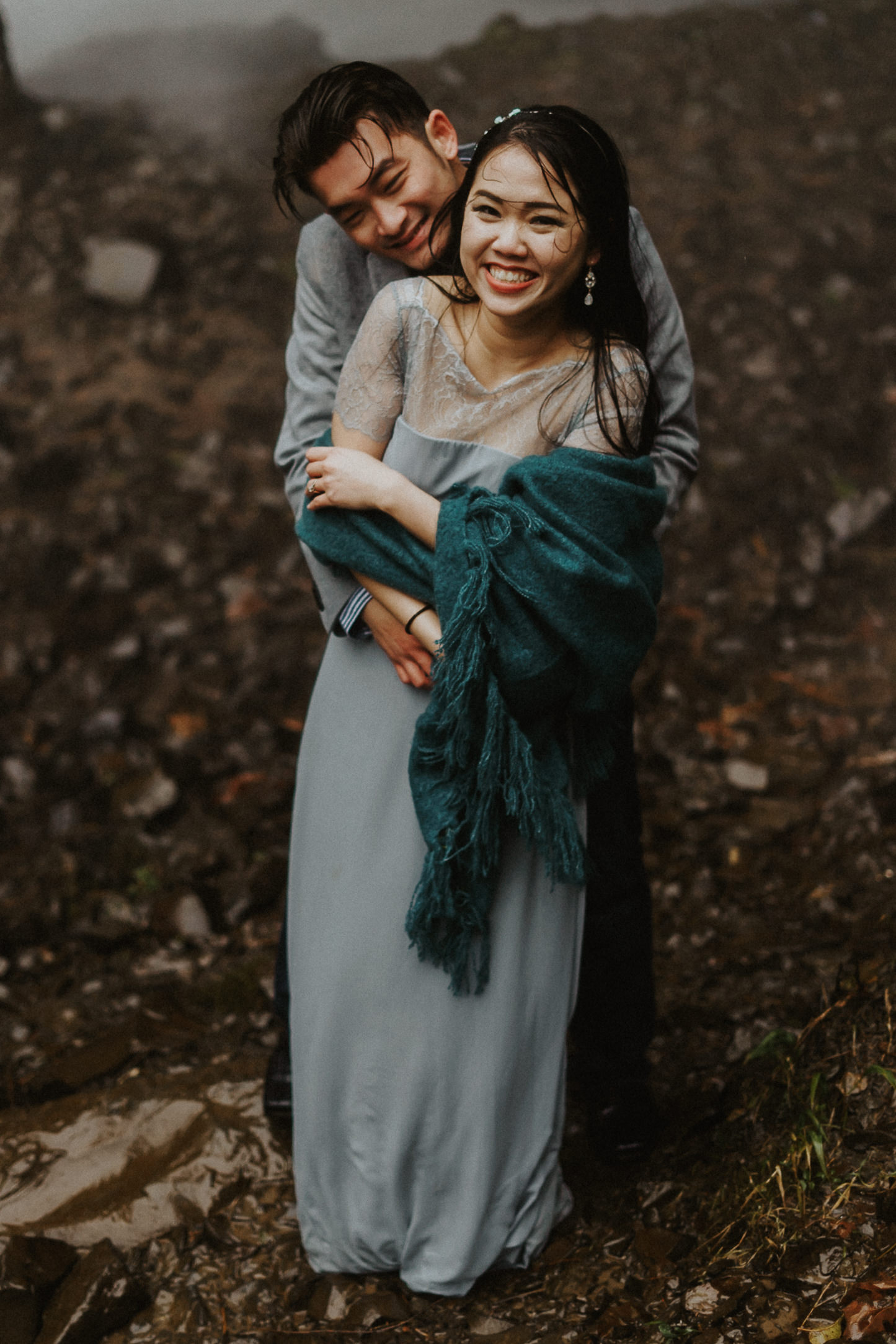 Hug behind engagement Portland photography