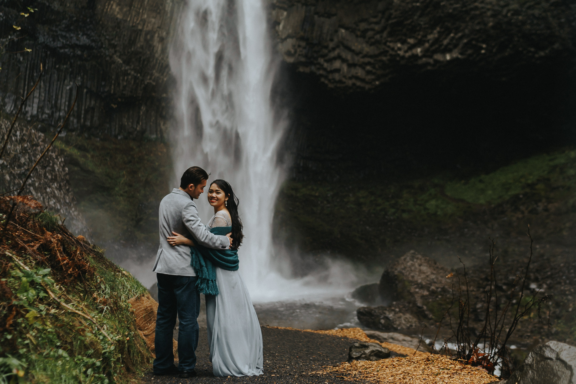 Latourell mood engagement waterfall Best Portland Photographer