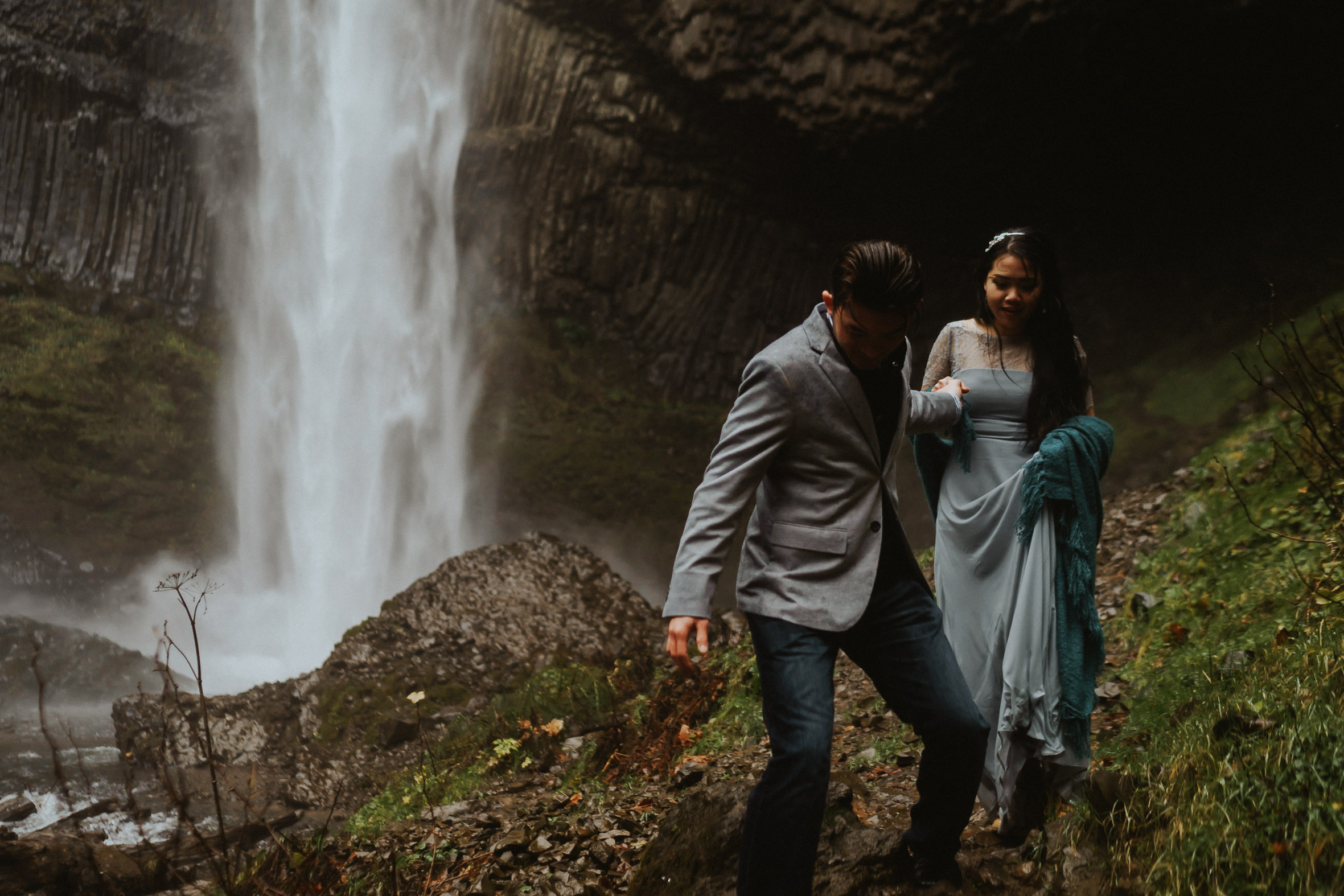 Latourell Falls Engagement Idea Photography