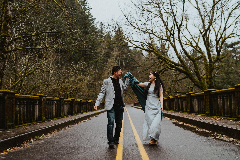 Authentic moment engagement Oregon Wedding Photographer