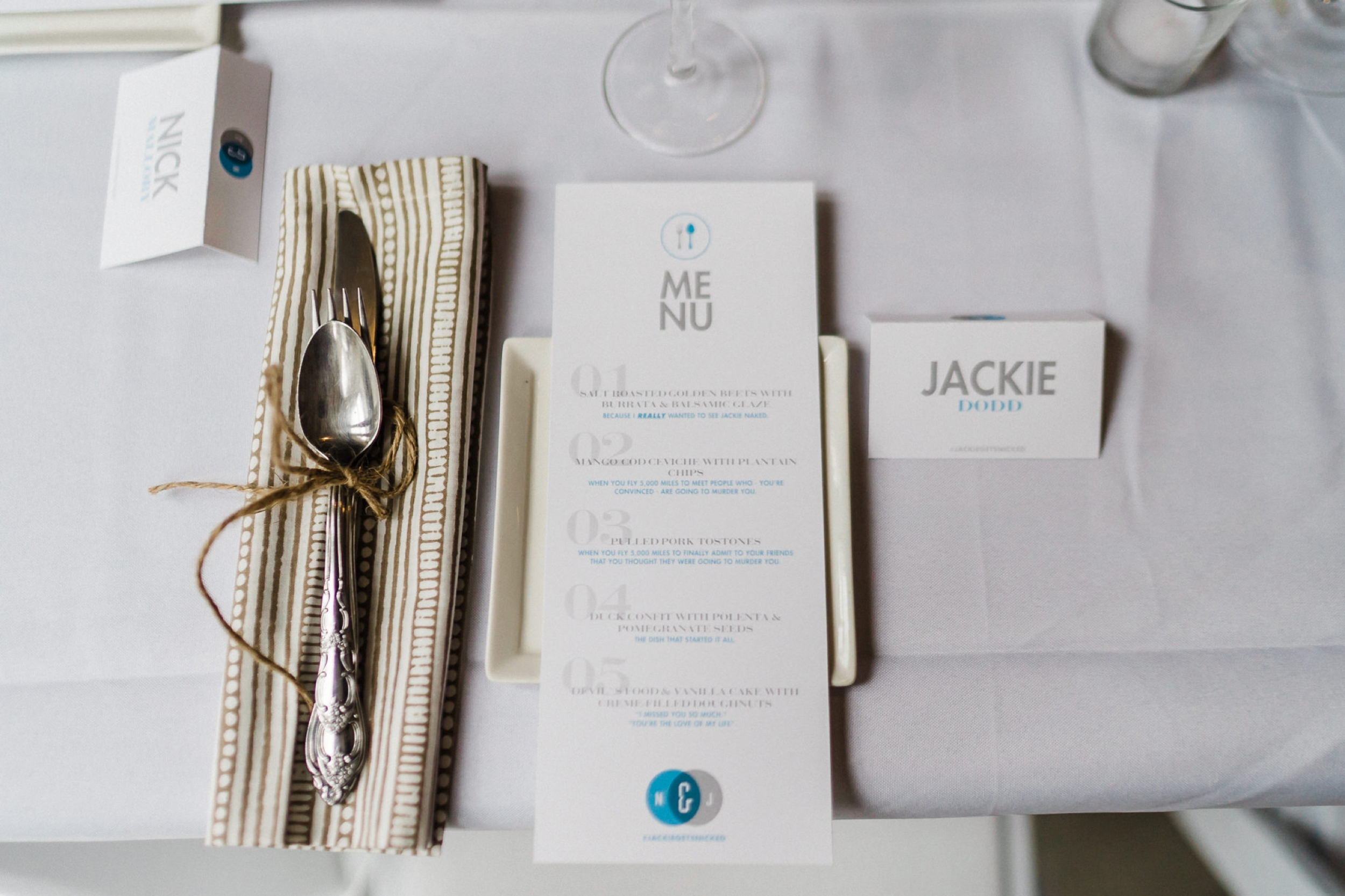 Wedding menu dinner place holder name graphic artist
