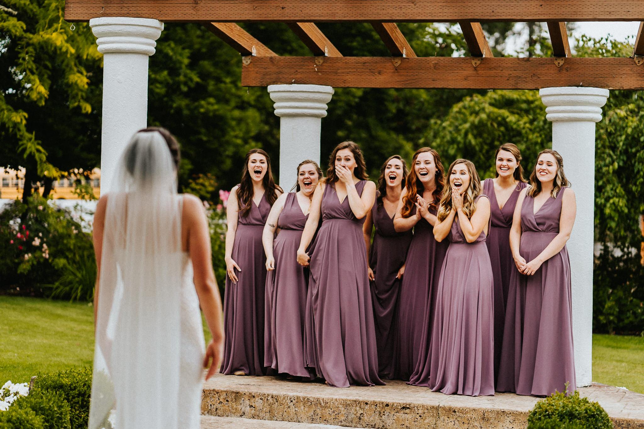 Bride Bridesmaid First Look Water Oasis