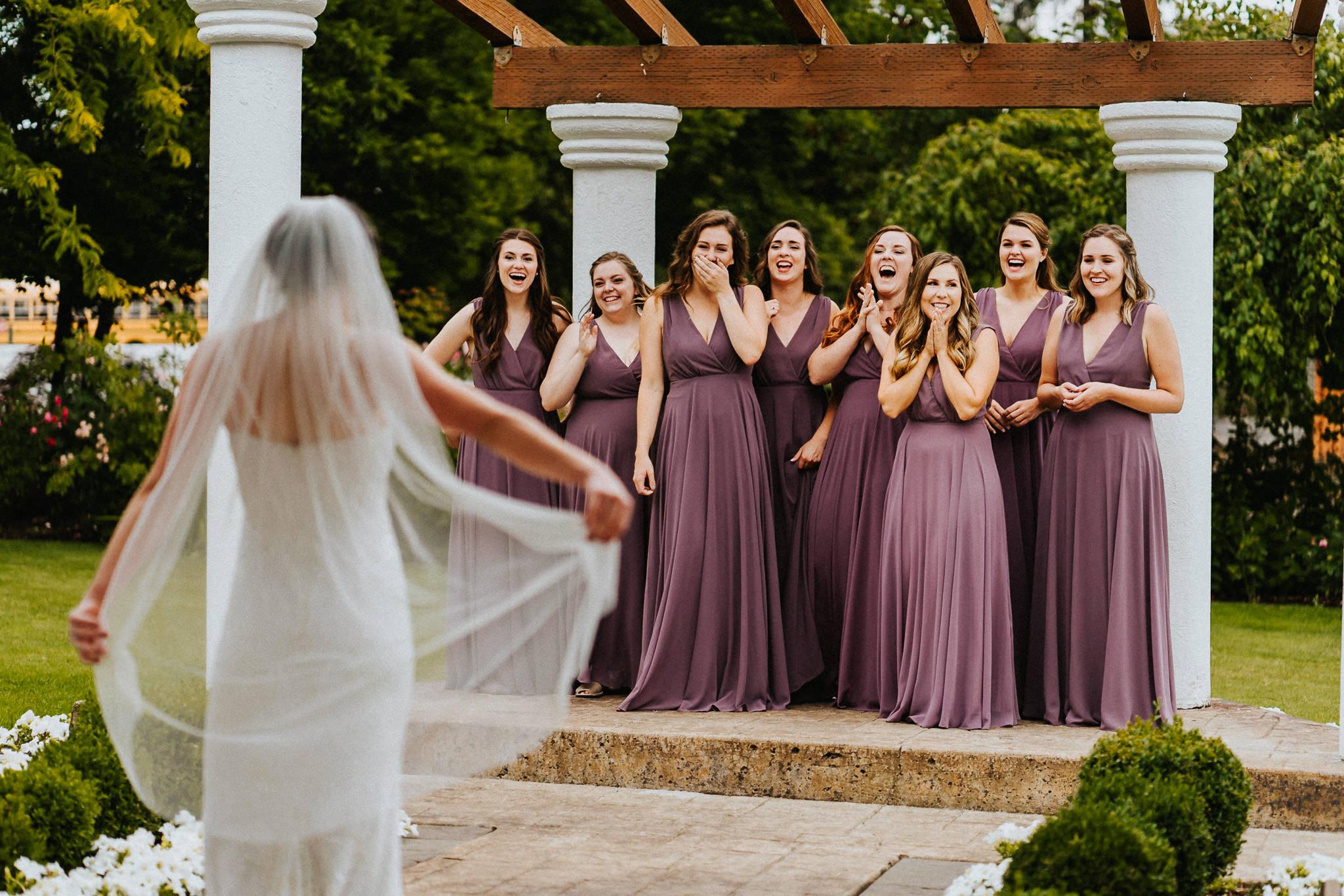 Bride Bridesmaid First Look Water Oasis Gazebo Purple Dress