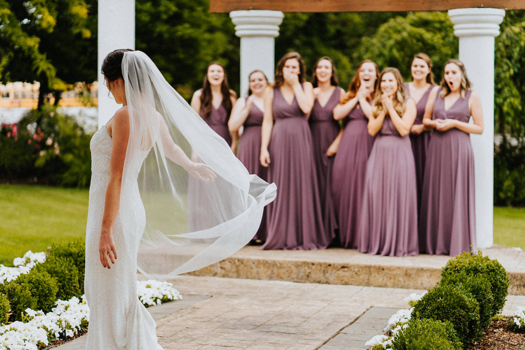Bride Twirl Bridesmaid First Look MOH