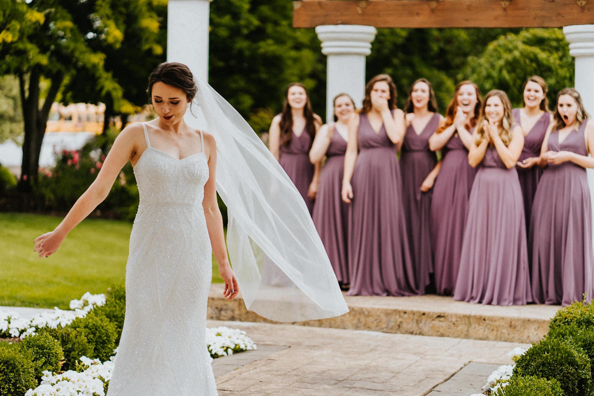 Bride Bridesmaid of Honor Wedding First Look