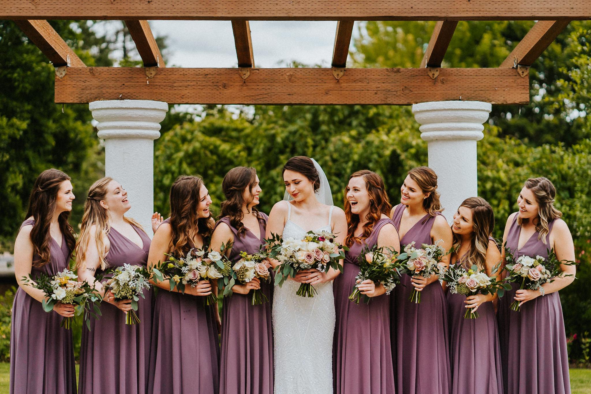 Bride Bridesmaid Purple Dress Truevinefloral Alfred Tang Weddings