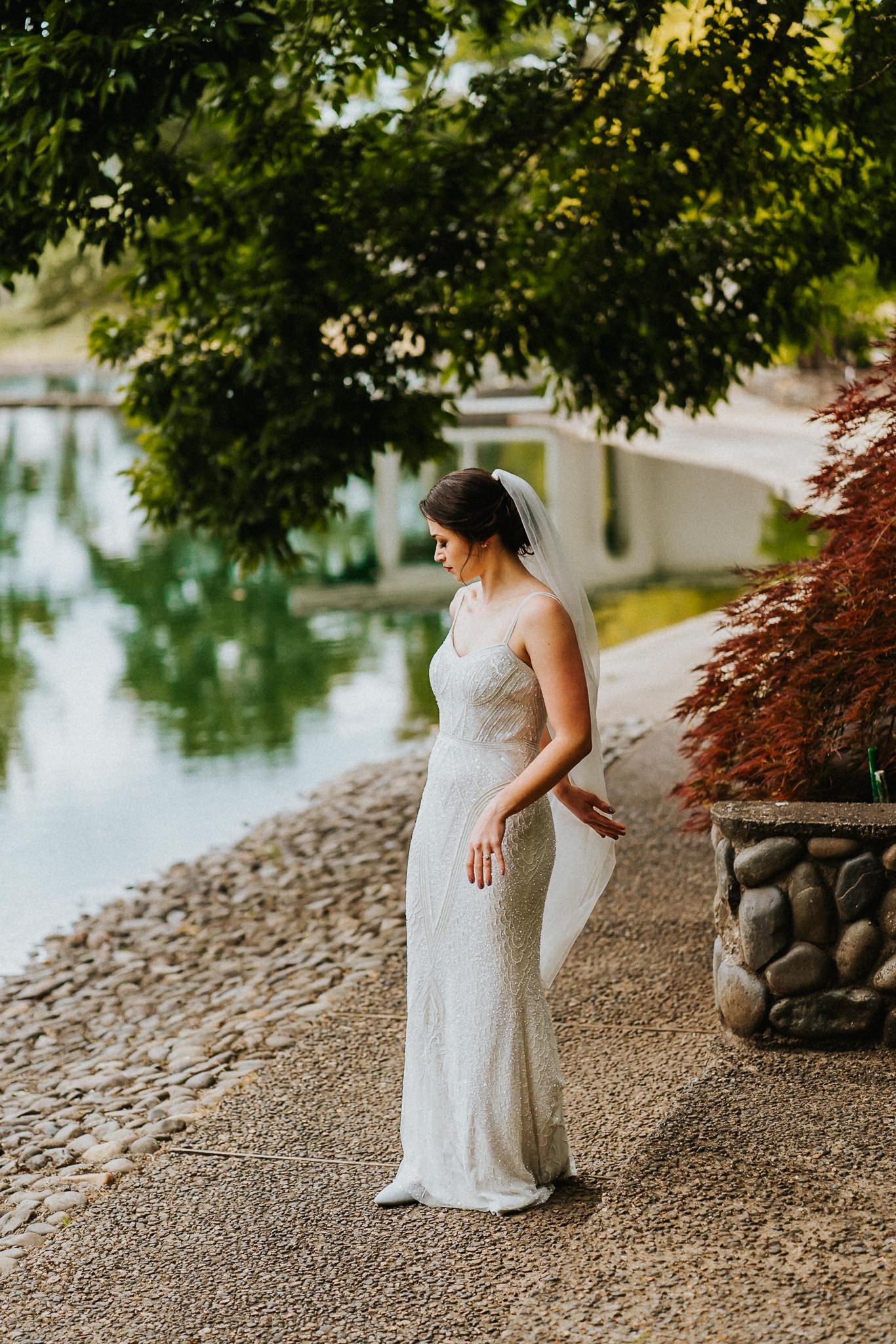 Bride First Look Preparation Water Oasis Oregon Wedding