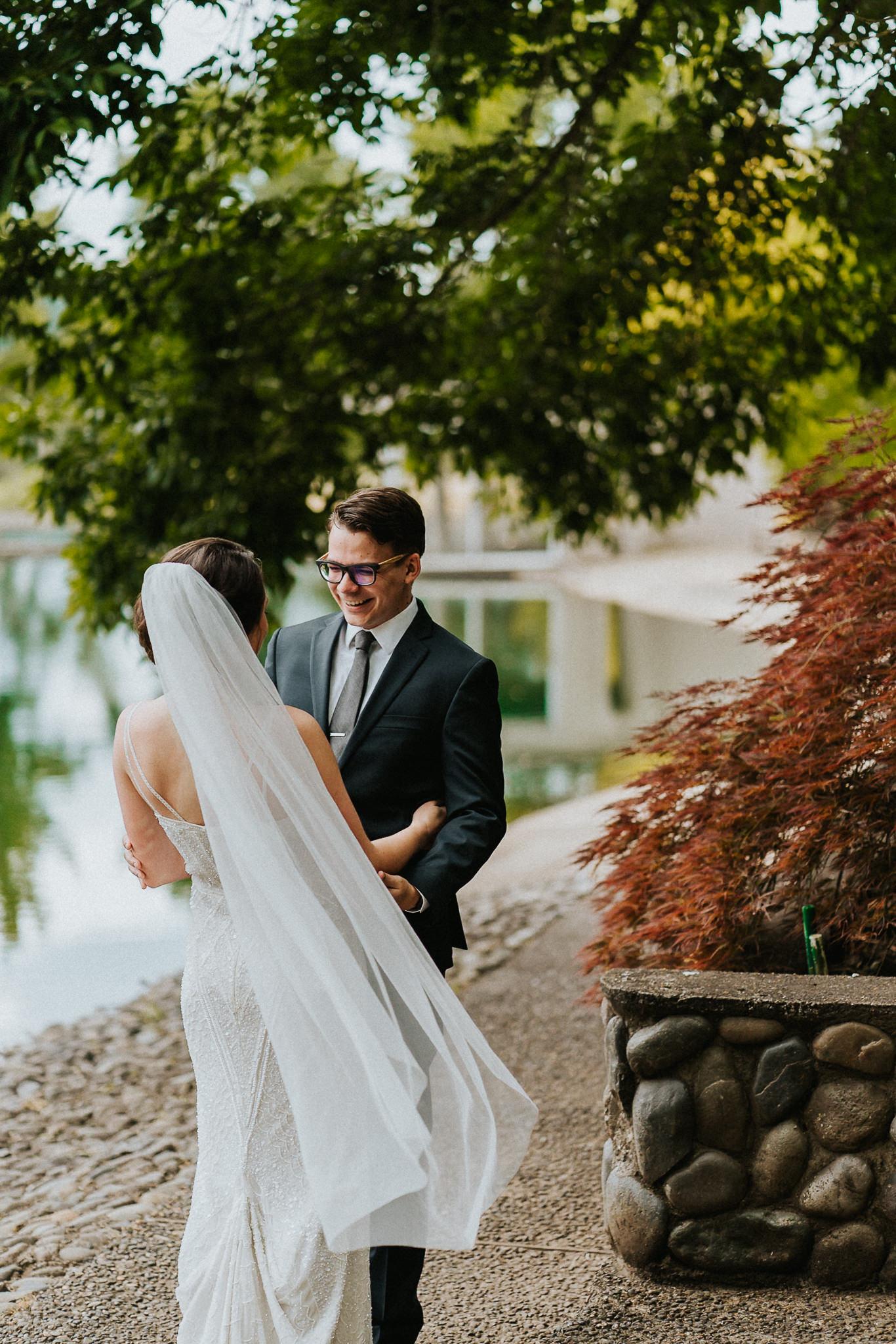 Hello Groom First Look Smile Bride Wedding Photographer