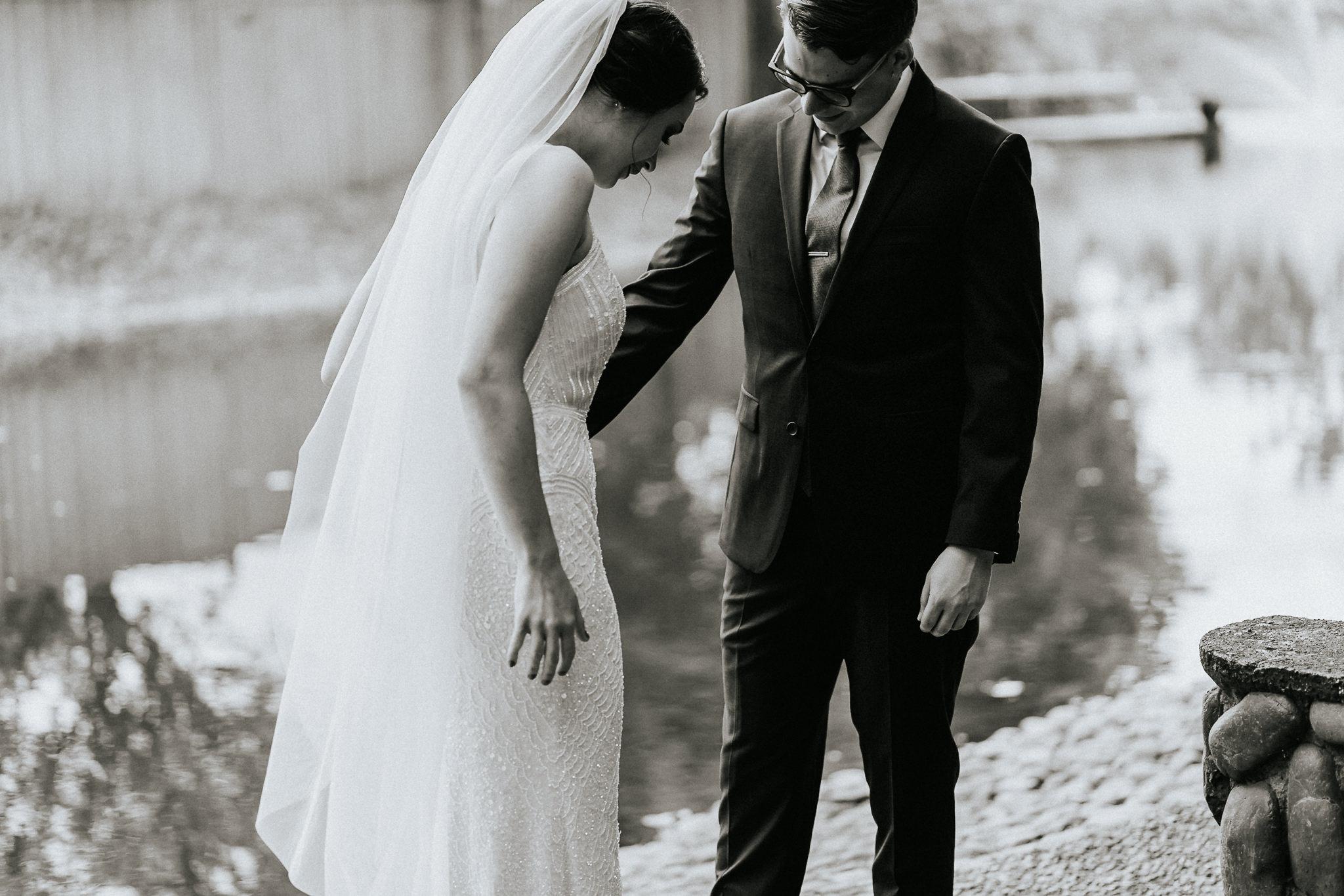 Black n White Wedding First Look