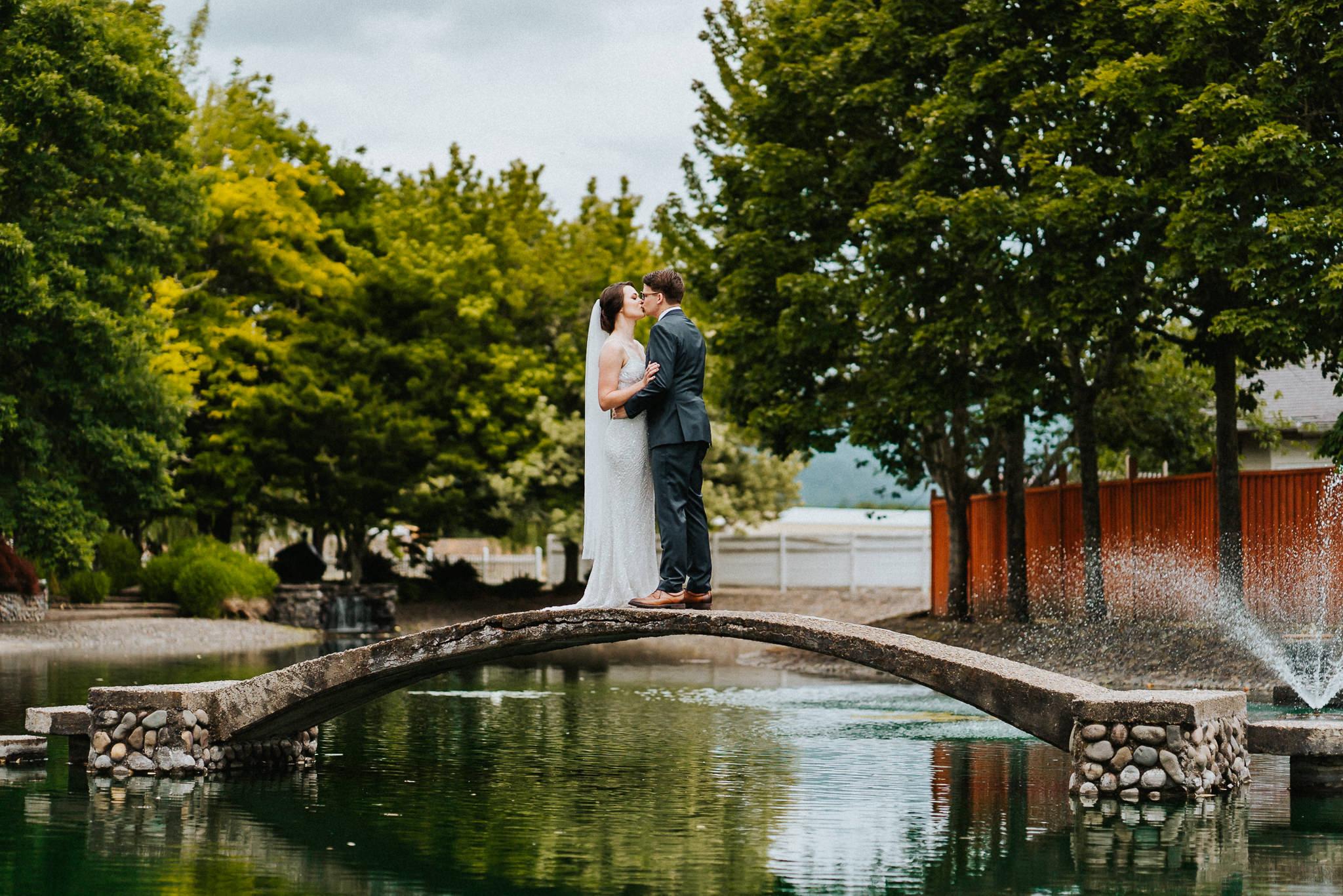 Water Oasis Bridge Wedding Bride Groom Portrait