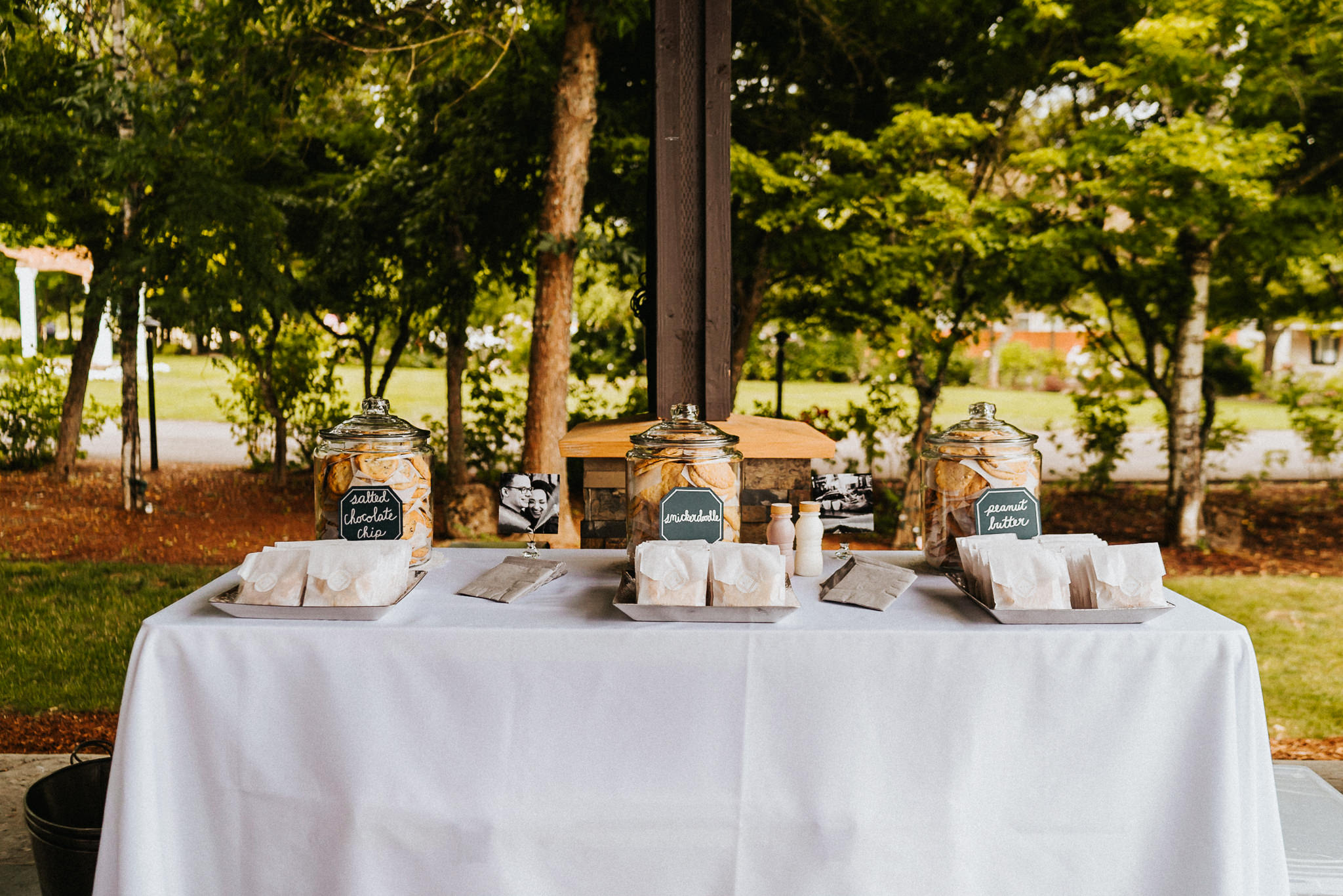 Wedding cookies table set up snickerdoodle peanut butter chocolate chip Jersey Cow Milk Alfred Tang Photography