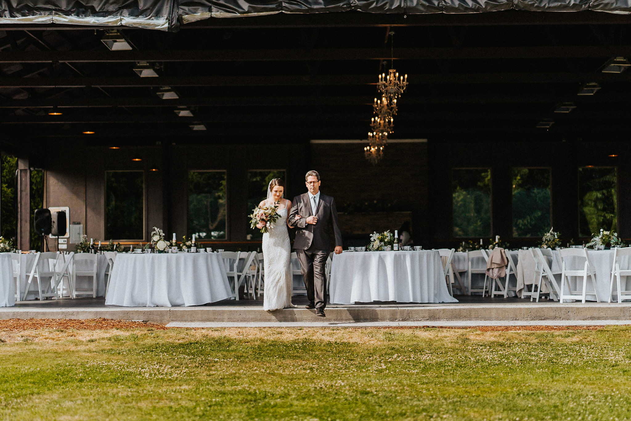 Bride Father walk down aisle Wedding Water Oasis