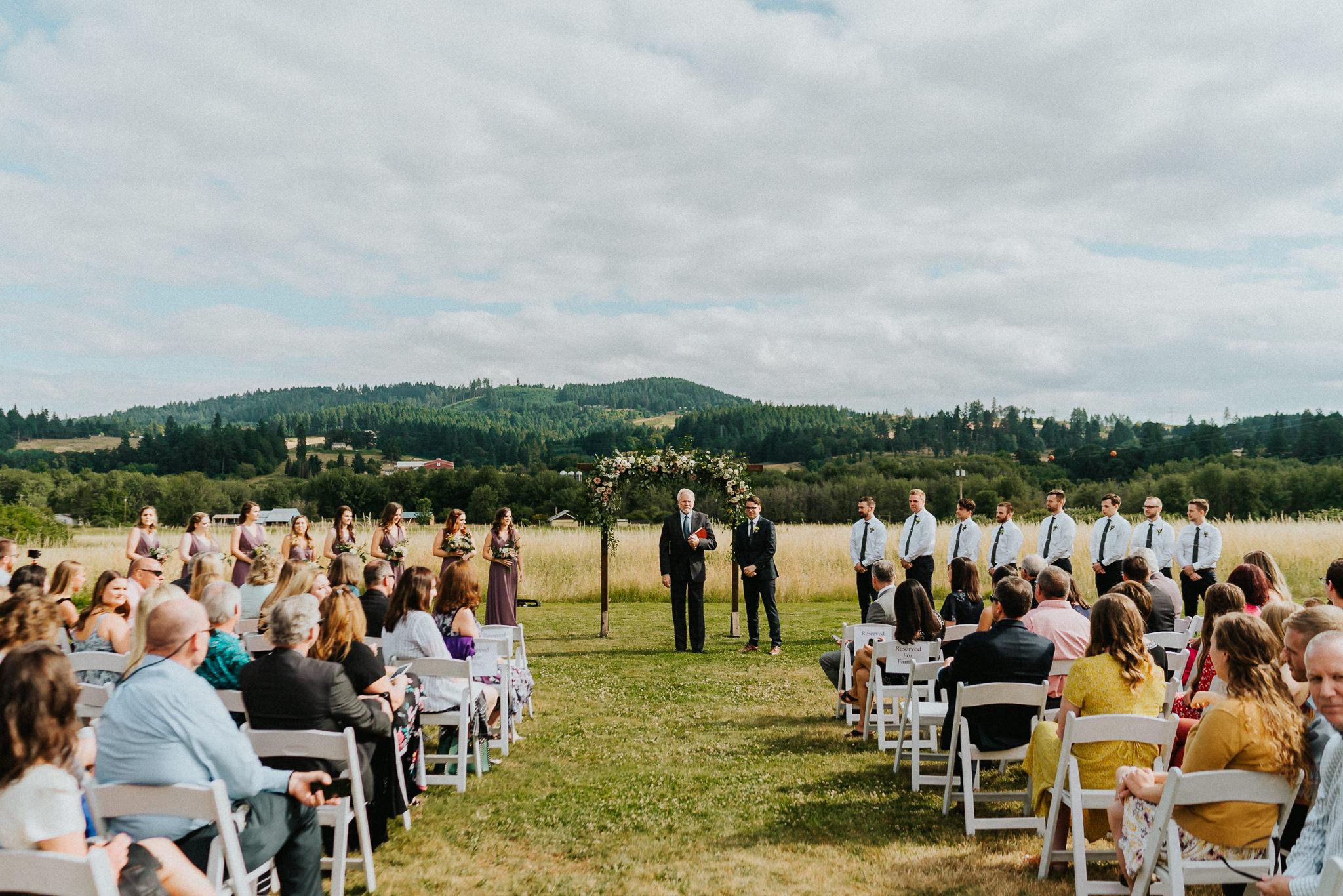 Groom waiting groomsmen bridesmaid alter Water Oasis Alfred Tang Photography
