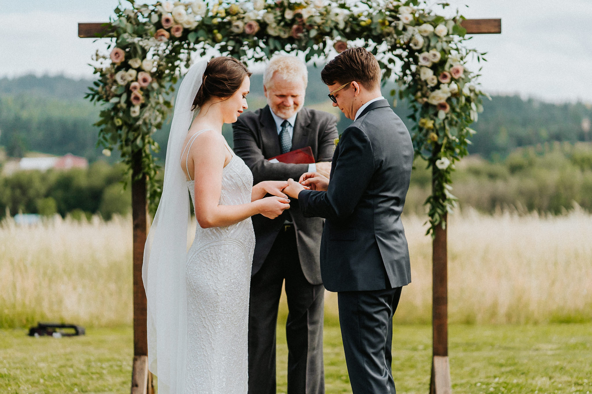 Exchange ring shot Bride Groom nervous