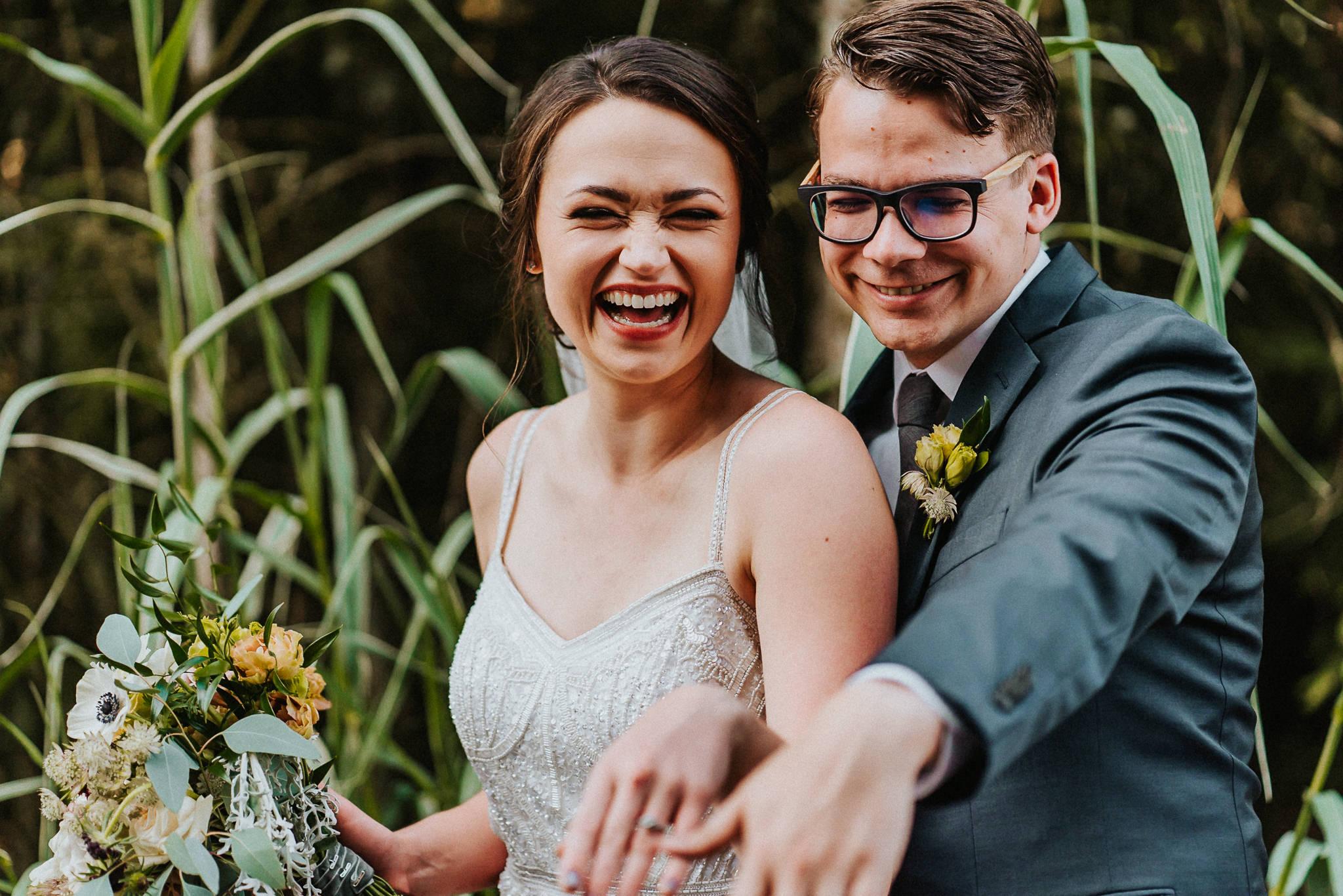 Laugh Wedding rings Bride Groom Water Oasis Newberg Oregon Best