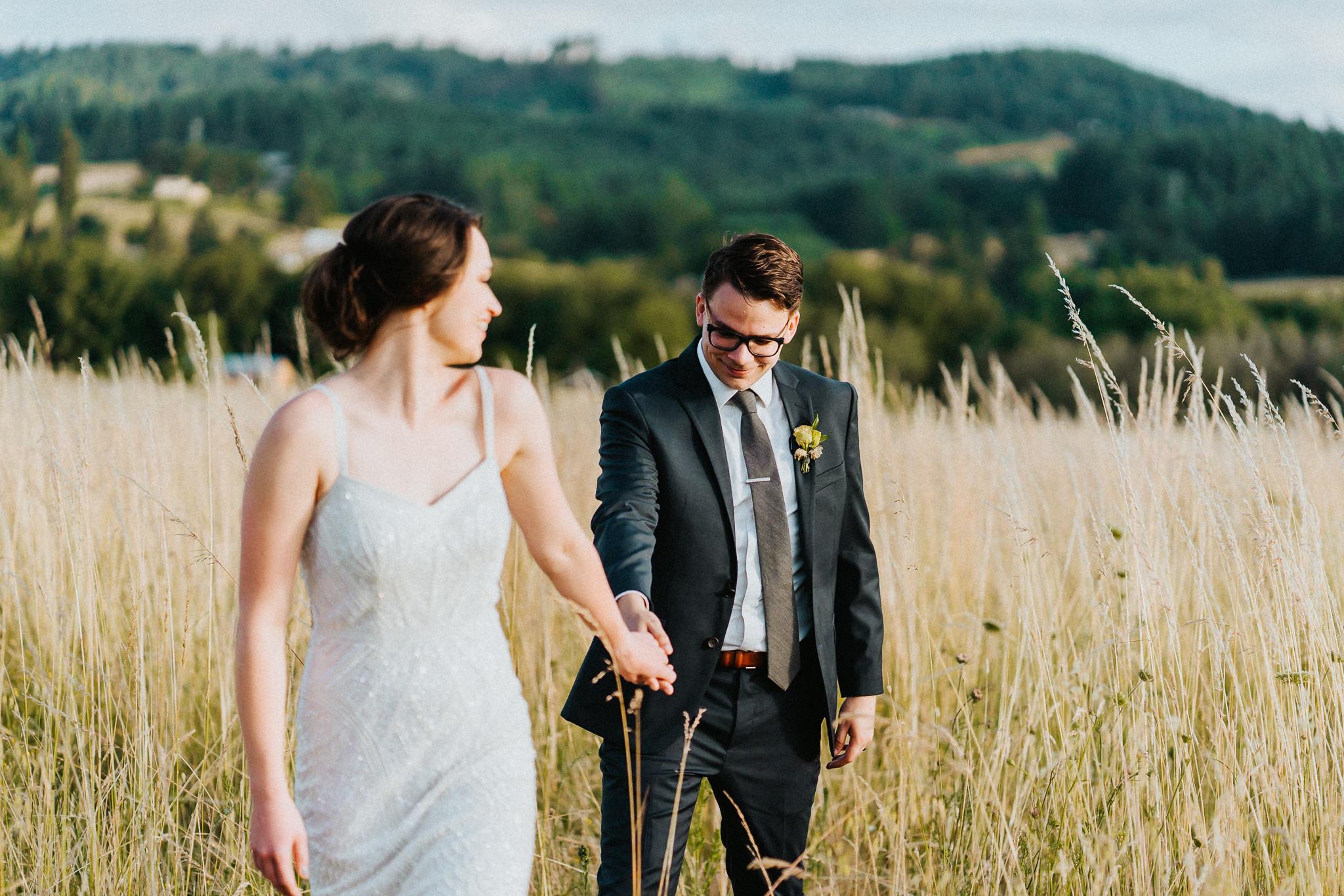 Bride lead groom candid portrait Photography Portland Oregon Wedding