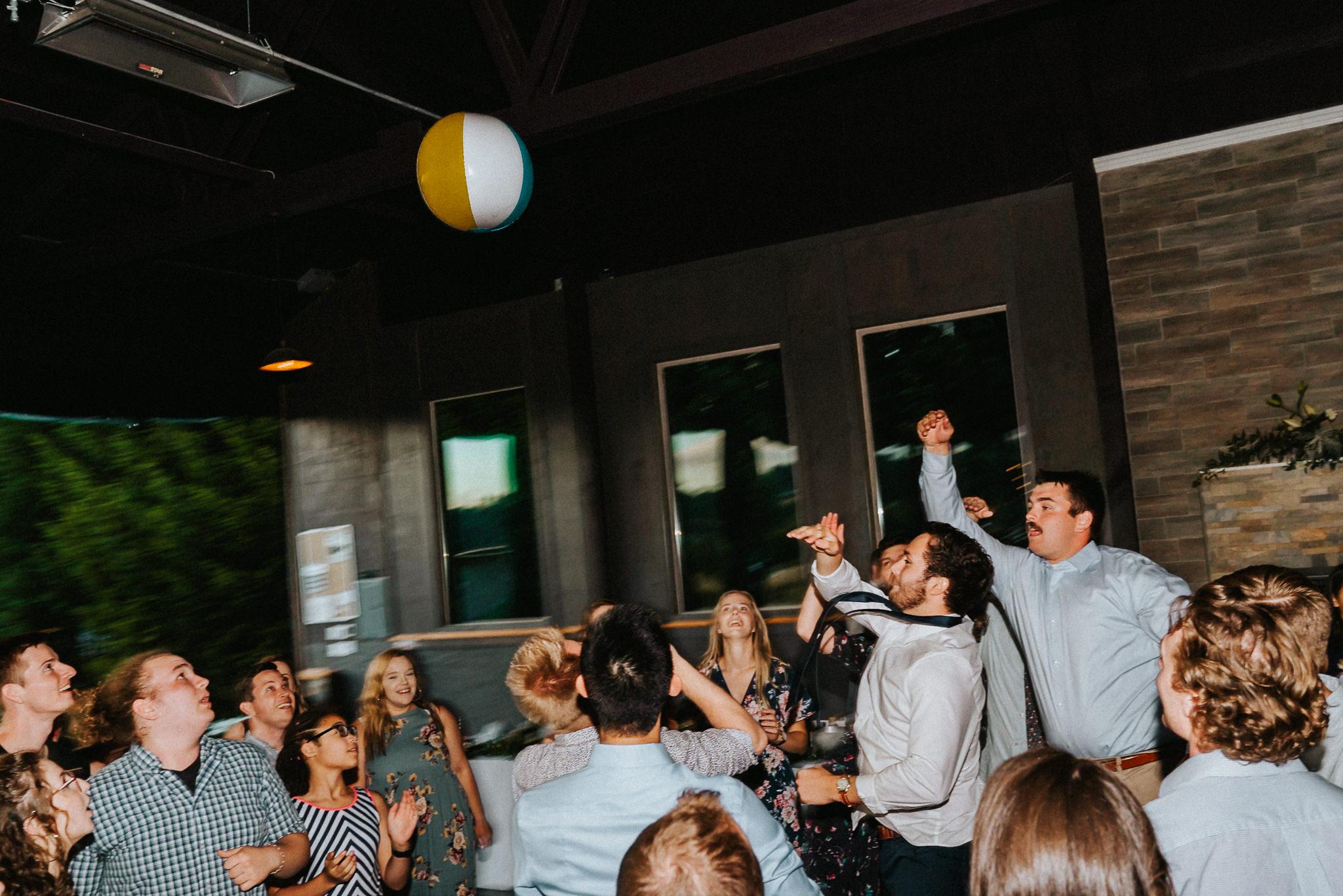 Water Oasis Oregon Photographer beach ball Wedding reception