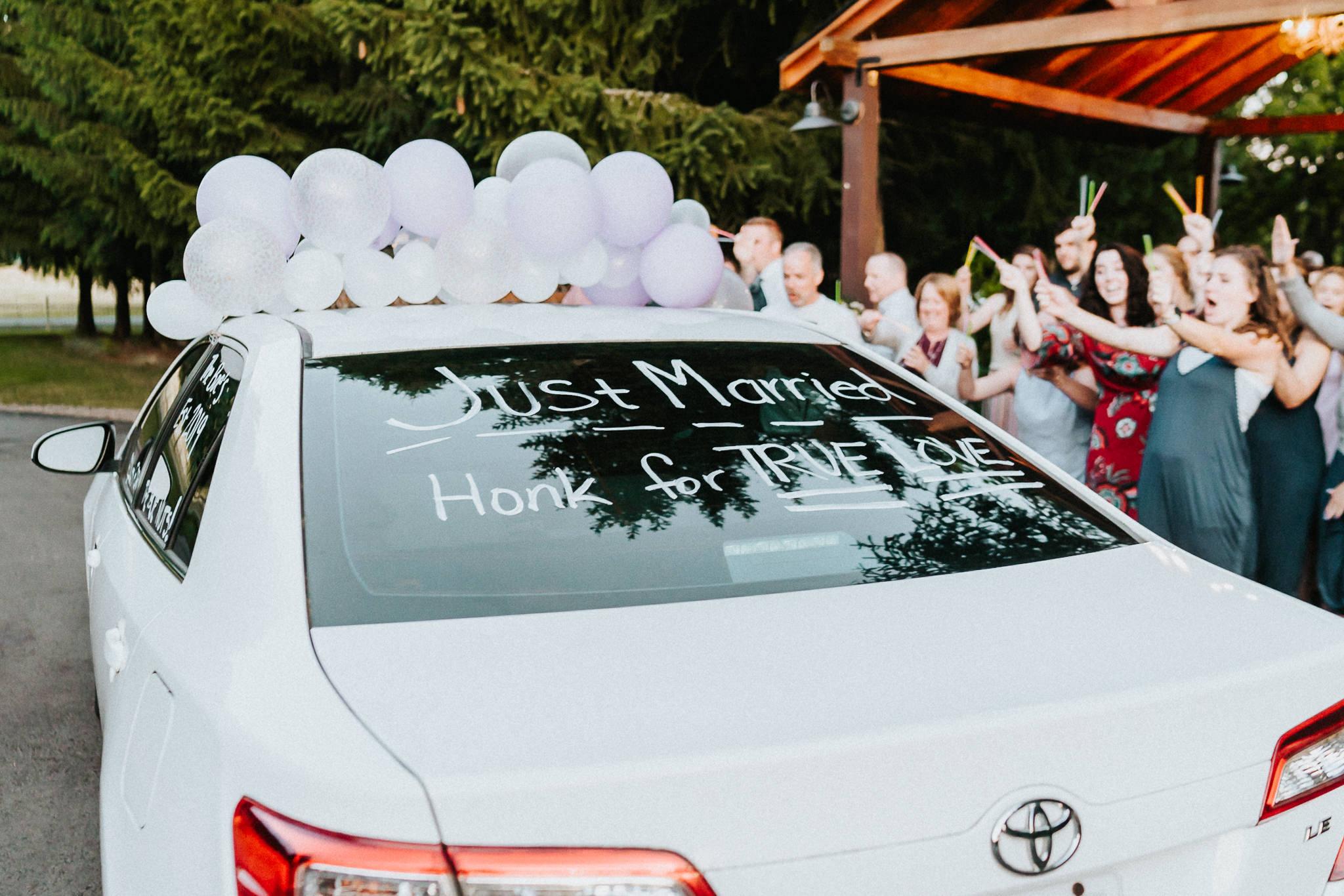 Car Send off getaway Wedding Oregon Portland Photographer