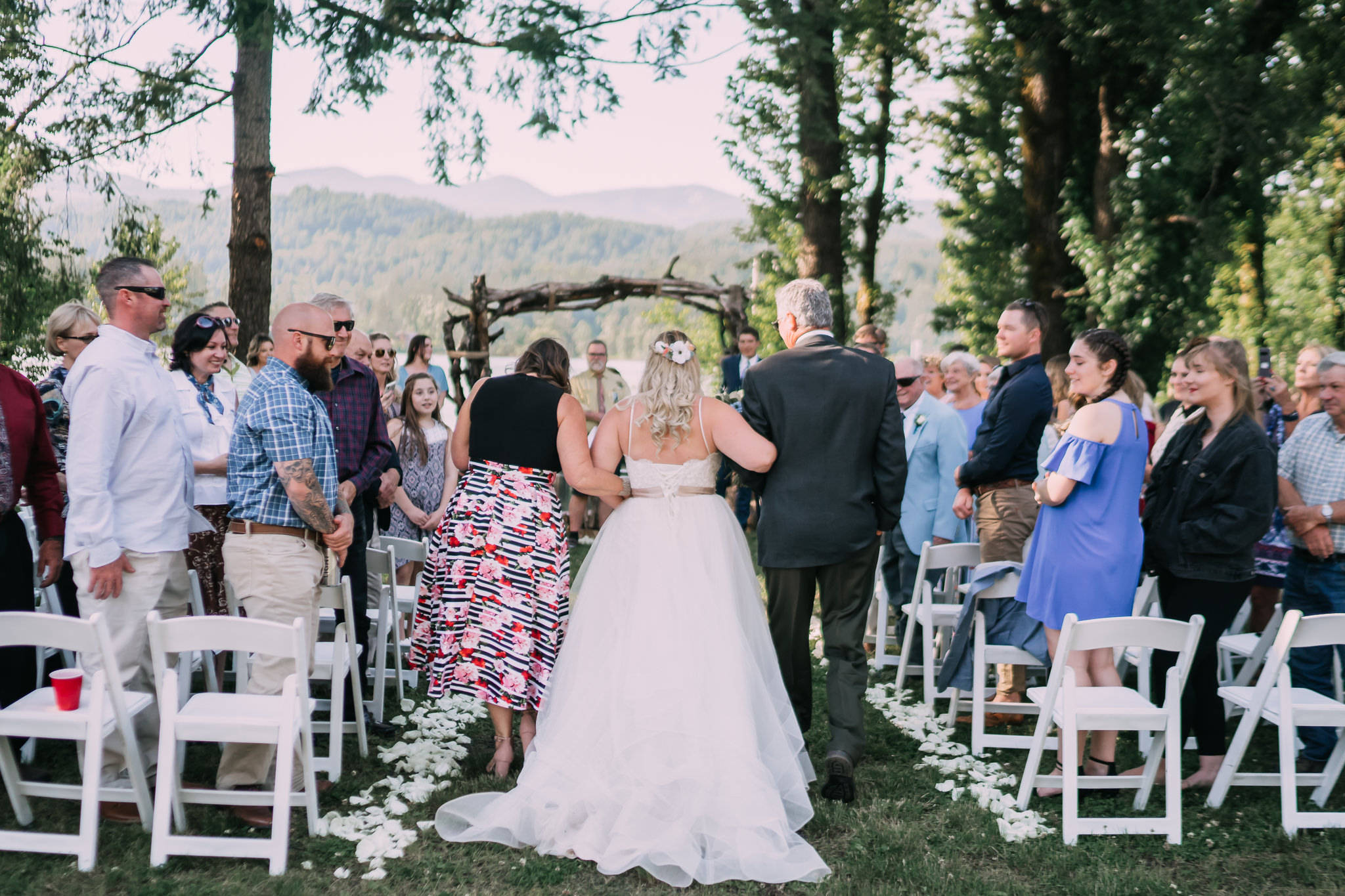 Bride parents walk down aisle wedding ceremony Portland Best Wedding Photographer