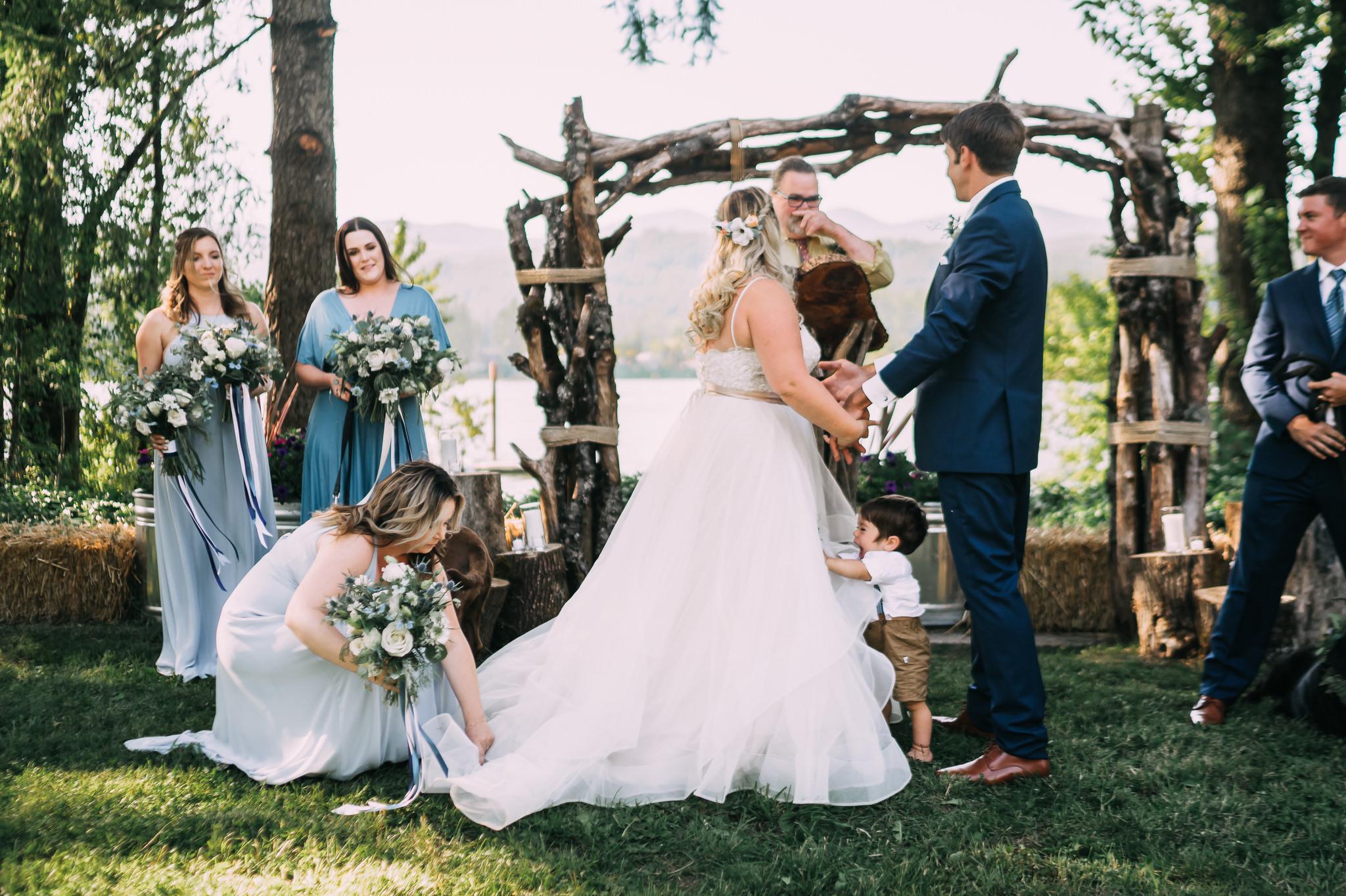 Bridesmaid fix fluff bride dress Columbia River Gorge wedding Alfred Tang