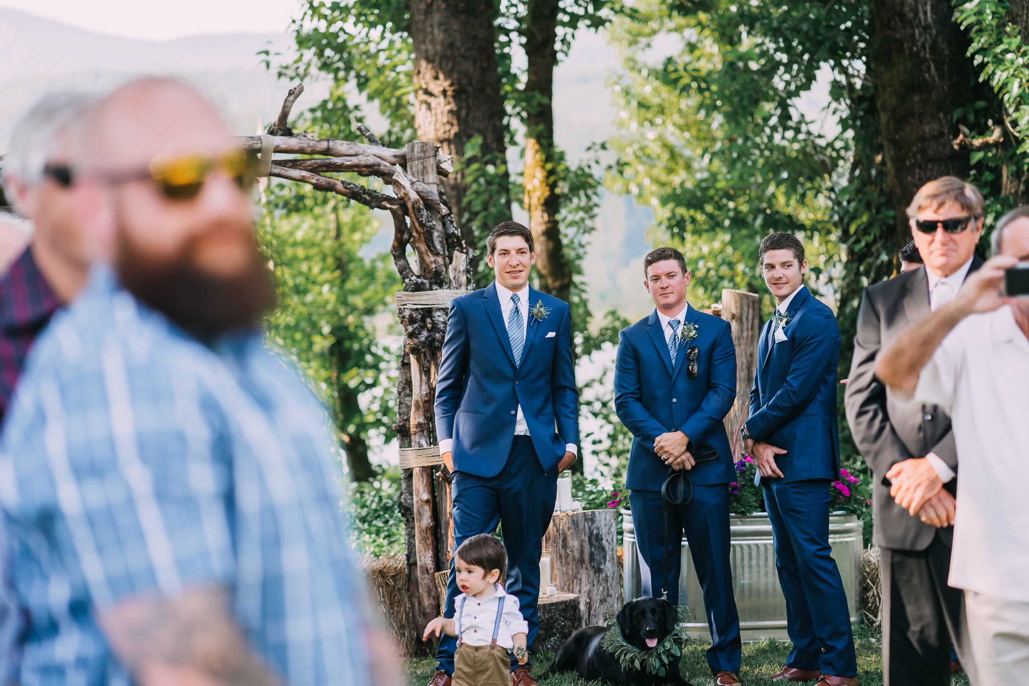 Groom Reaction Bride walking down aisle Portland Oregon Wedding Phtoographer