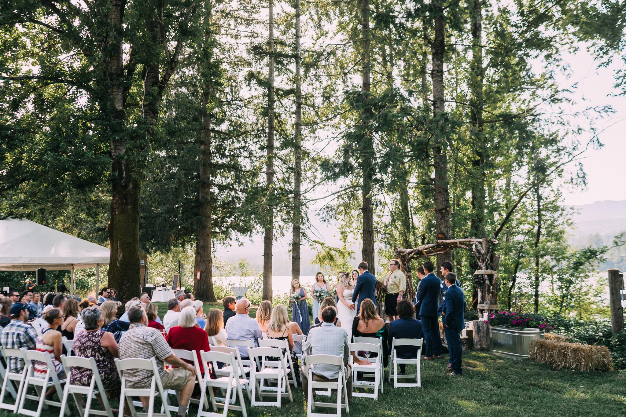 Columbia River Gorge Backyard Wedding Navy Blue