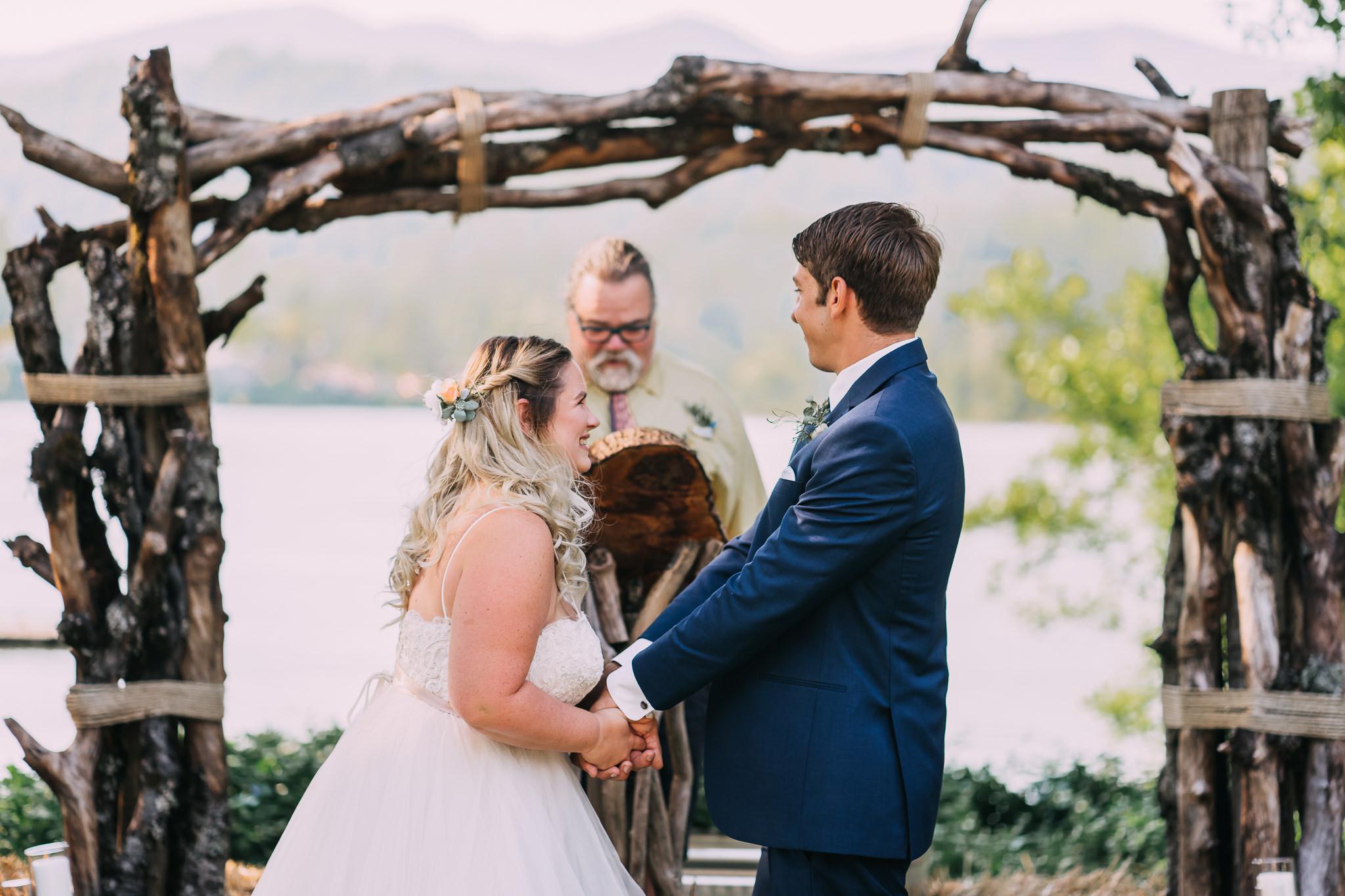 bride giggle happy holding groom's hand Oregon Portland Wedding Photographer