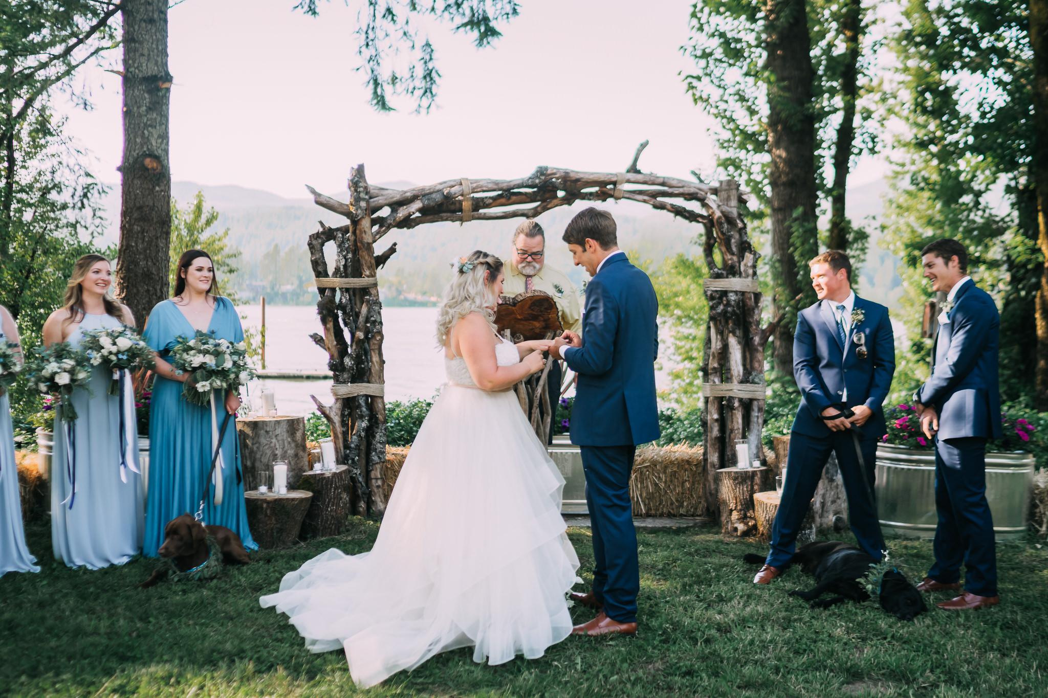 Bride groom exchange rings ceremony Mt hood River Gorge Portland wedding photographer