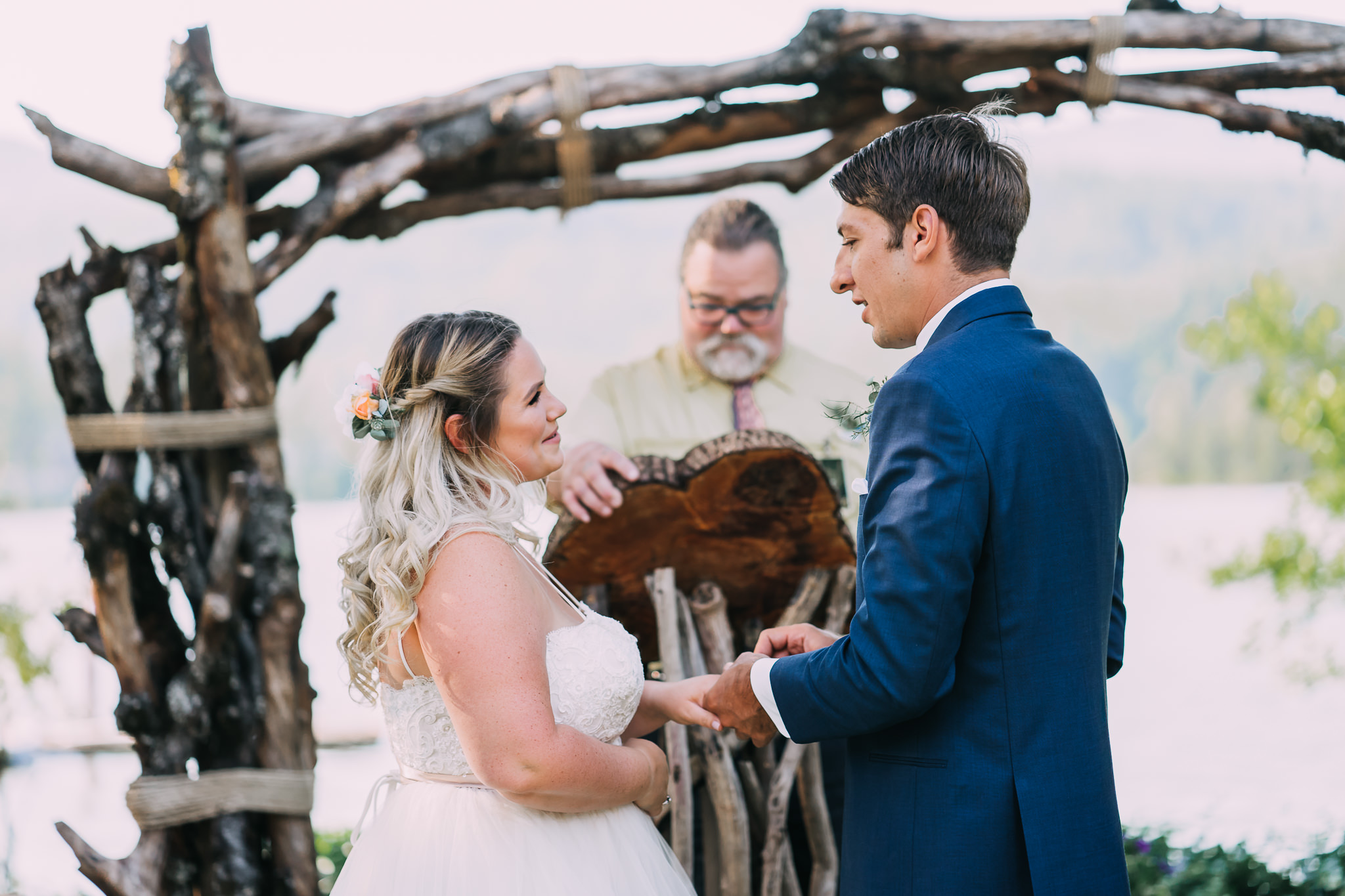 Bride exchange rings ceremony photographer Mt hood River Gorge Best wedding photographer
